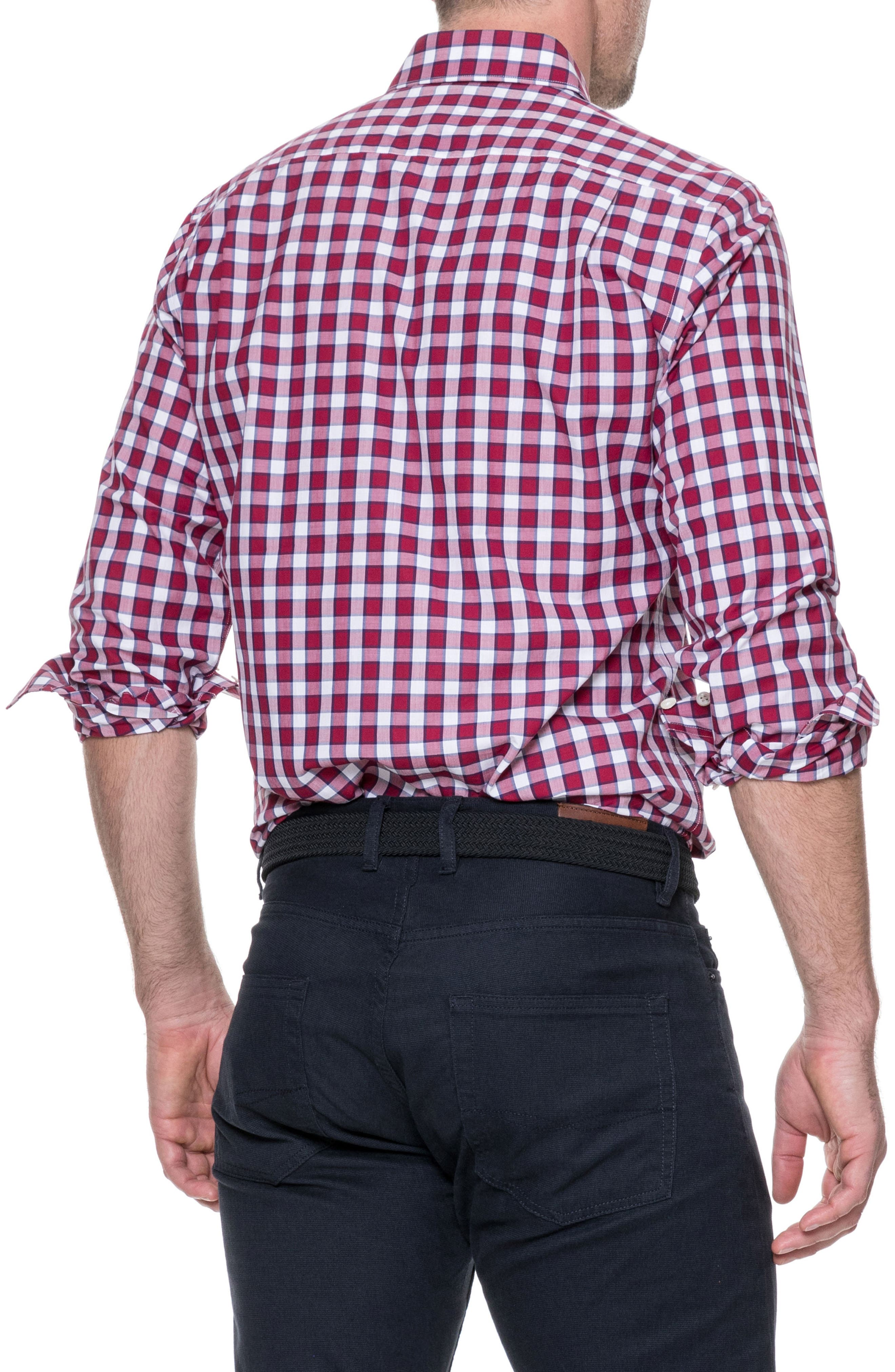 Cedarwood Regular Fit Sport Shirt,                             Alternate thumbnail 3, color,                             Sangria