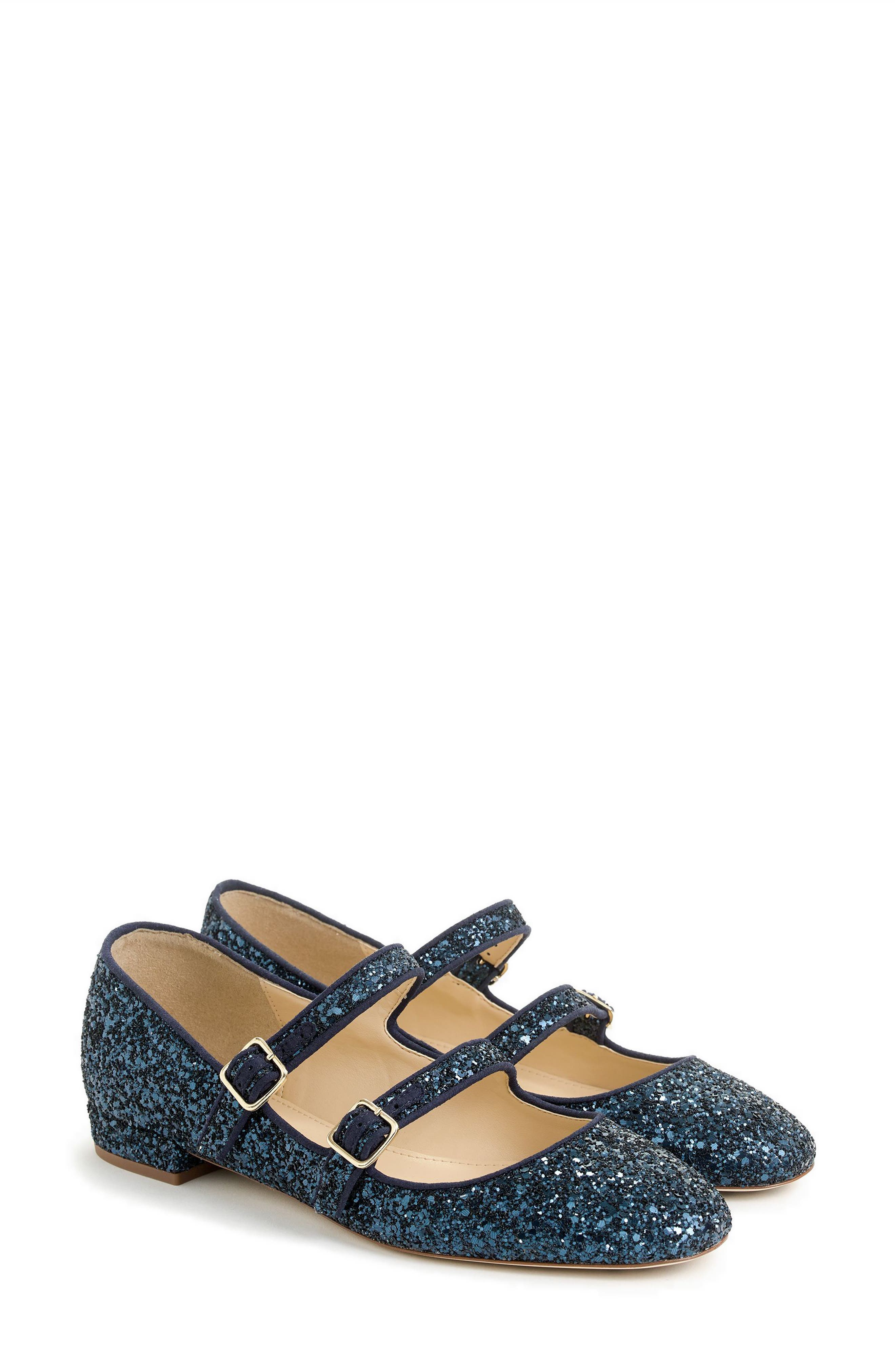J.Crew Multistrap Mary Jane Flat,                         Main,                         color, Navy Glitter Fabric