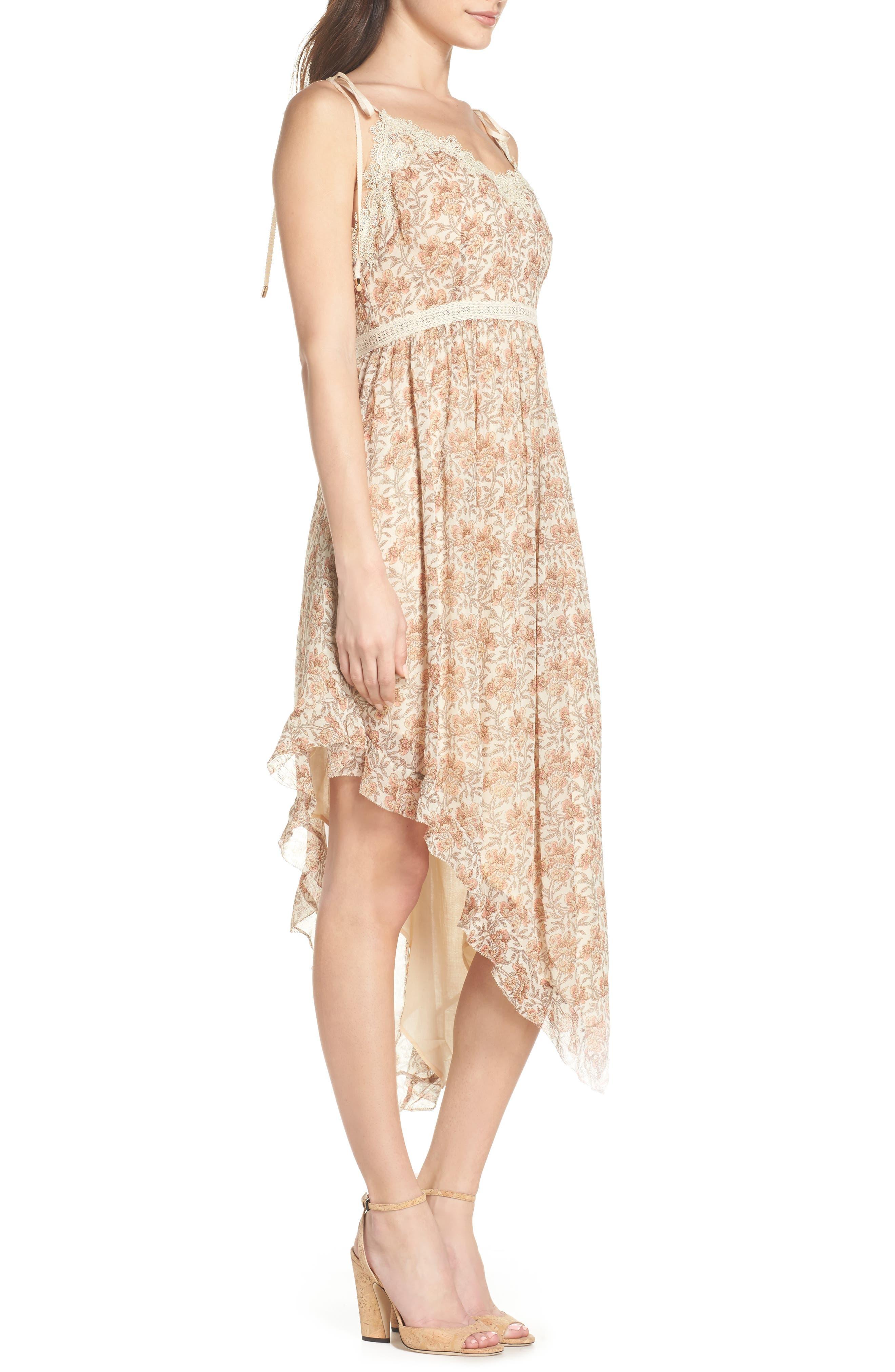 Aubrey Floral Print Dress,                             Alternate thumbnail 3, color,                             Desert Sunrise Floral