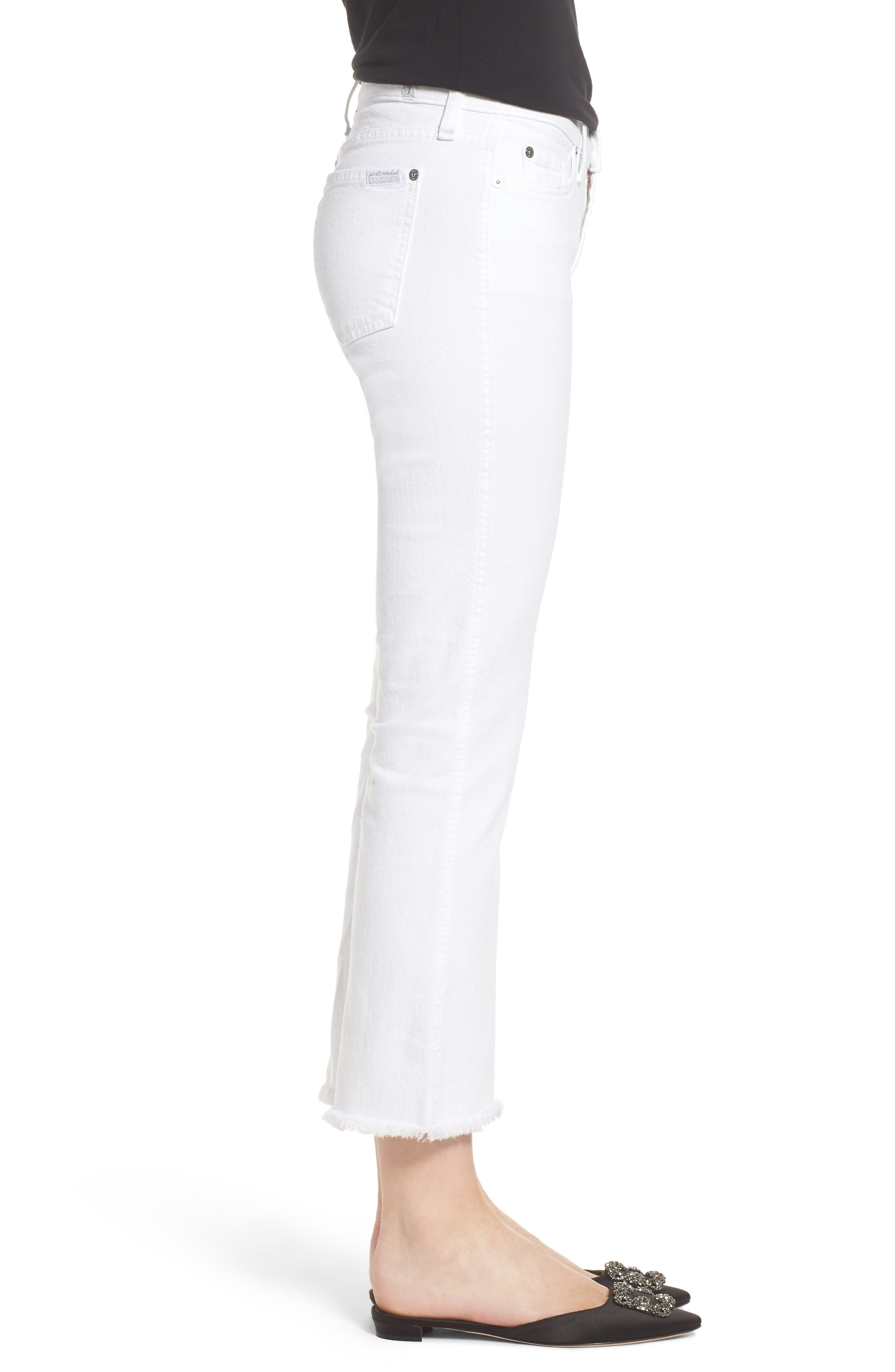 Frayed Crop Bootcut Jeans,                             Alternate thumbnail 3, color,                             White Fashion