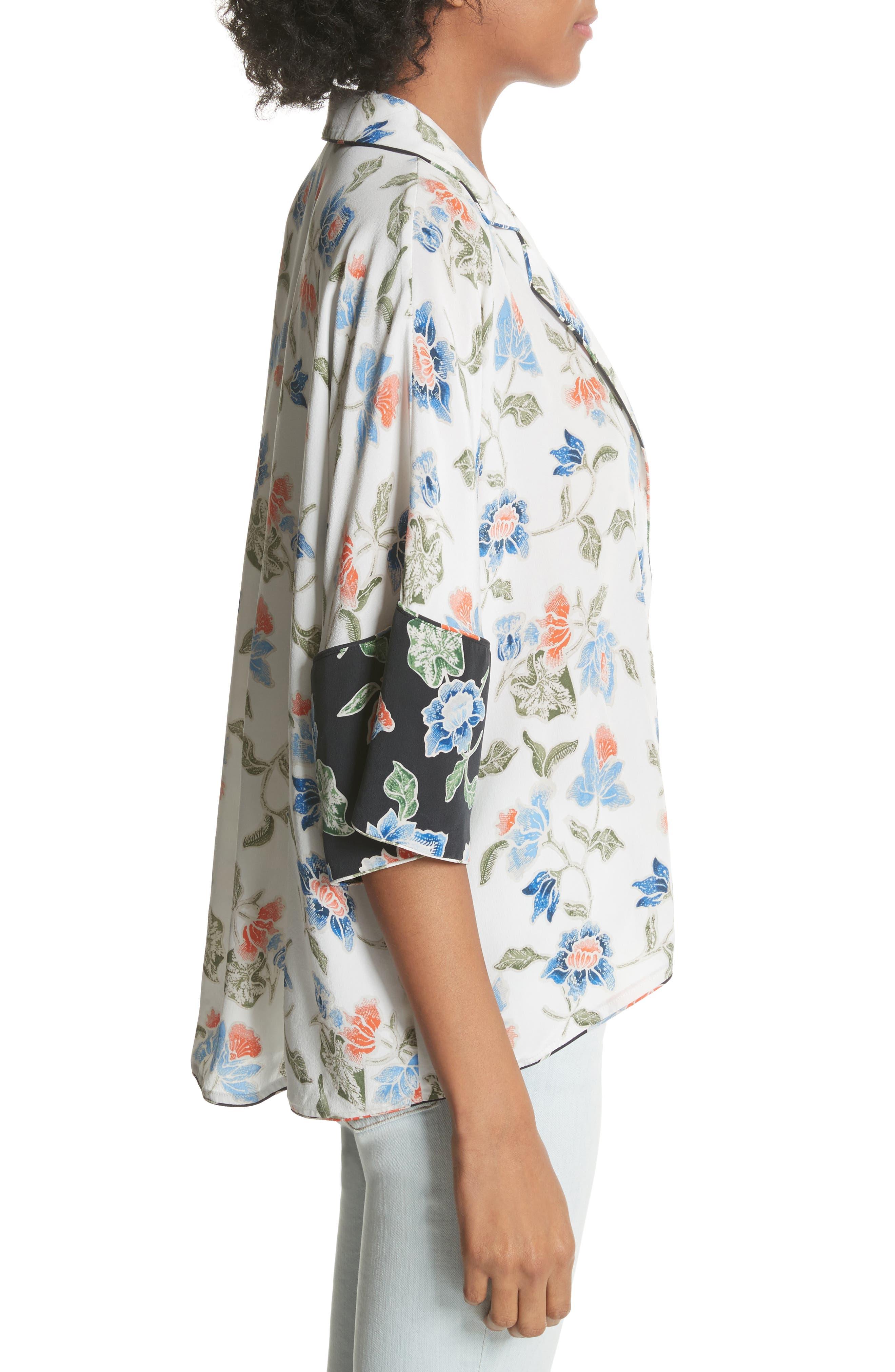 Desmonda Floral Contrast Cuff Silk Blouse,                             Alternate thumbnail 3, color,                             Porcelain