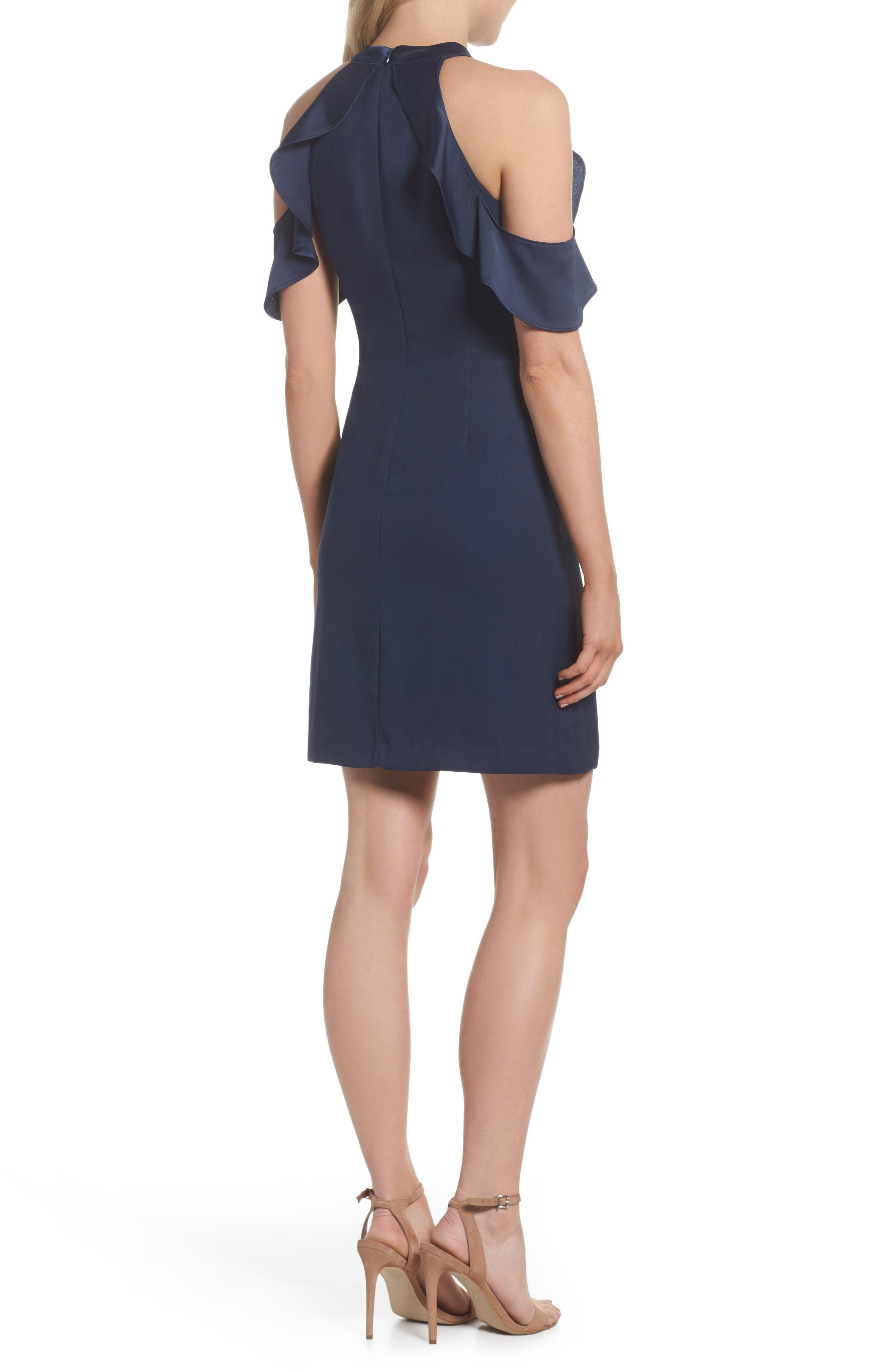 Cold Shoulder Satin Trim Dress,                             Alternate thumbnail 2, color,                             Navy