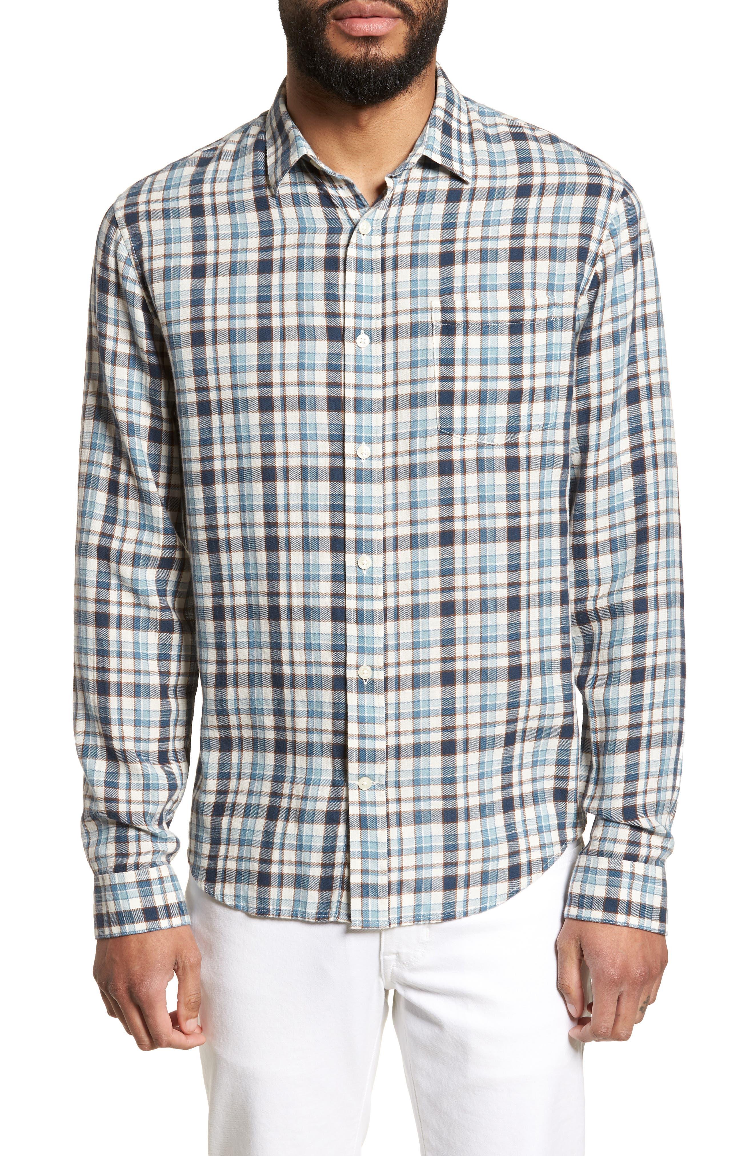 Slim Fit Plaid Sport Shirt,                         Main,                         color, White/ Blue