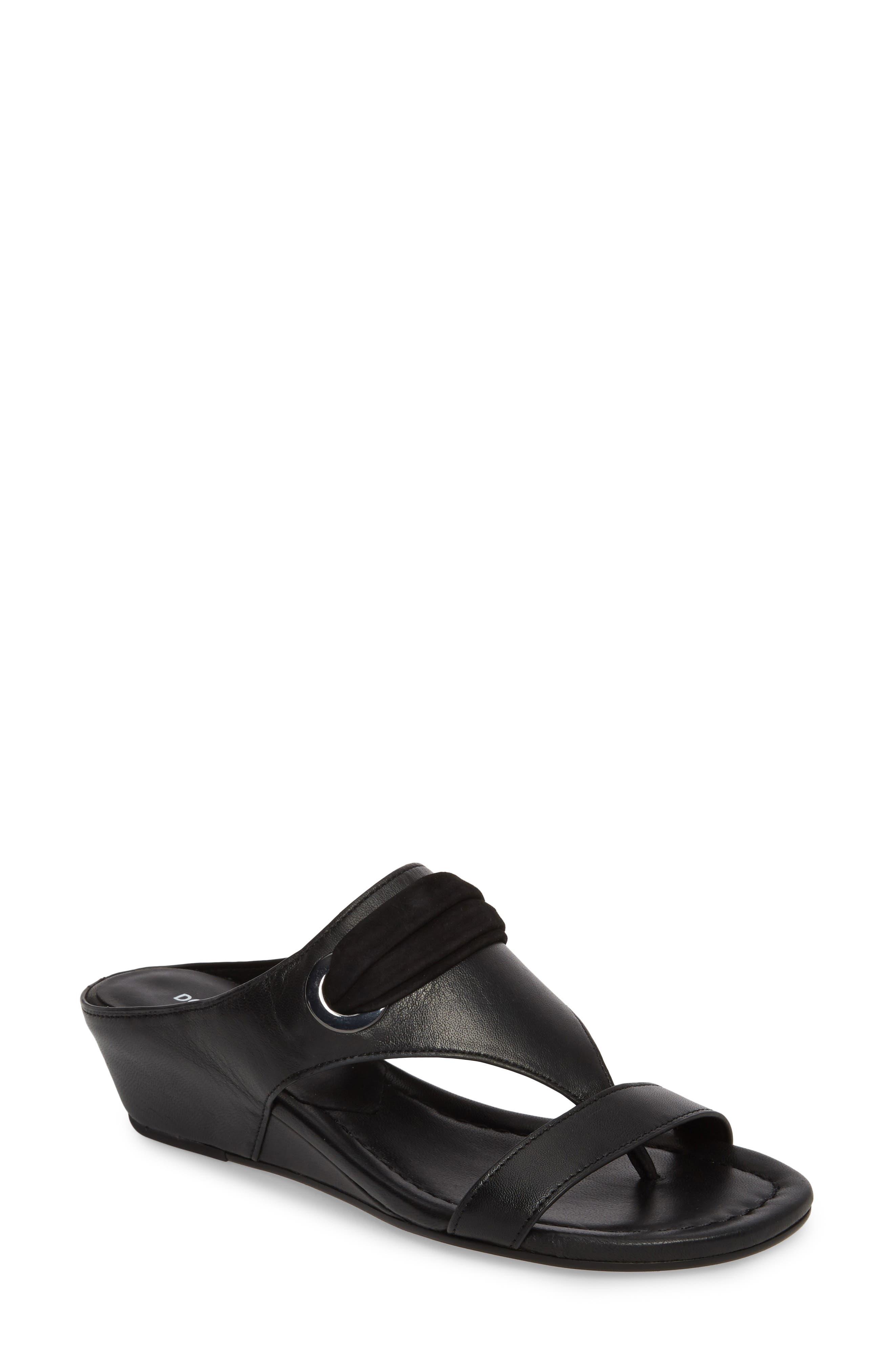 Dionne Wedge Sandal,                             Main thumbnail 1, color,                             Black Leather