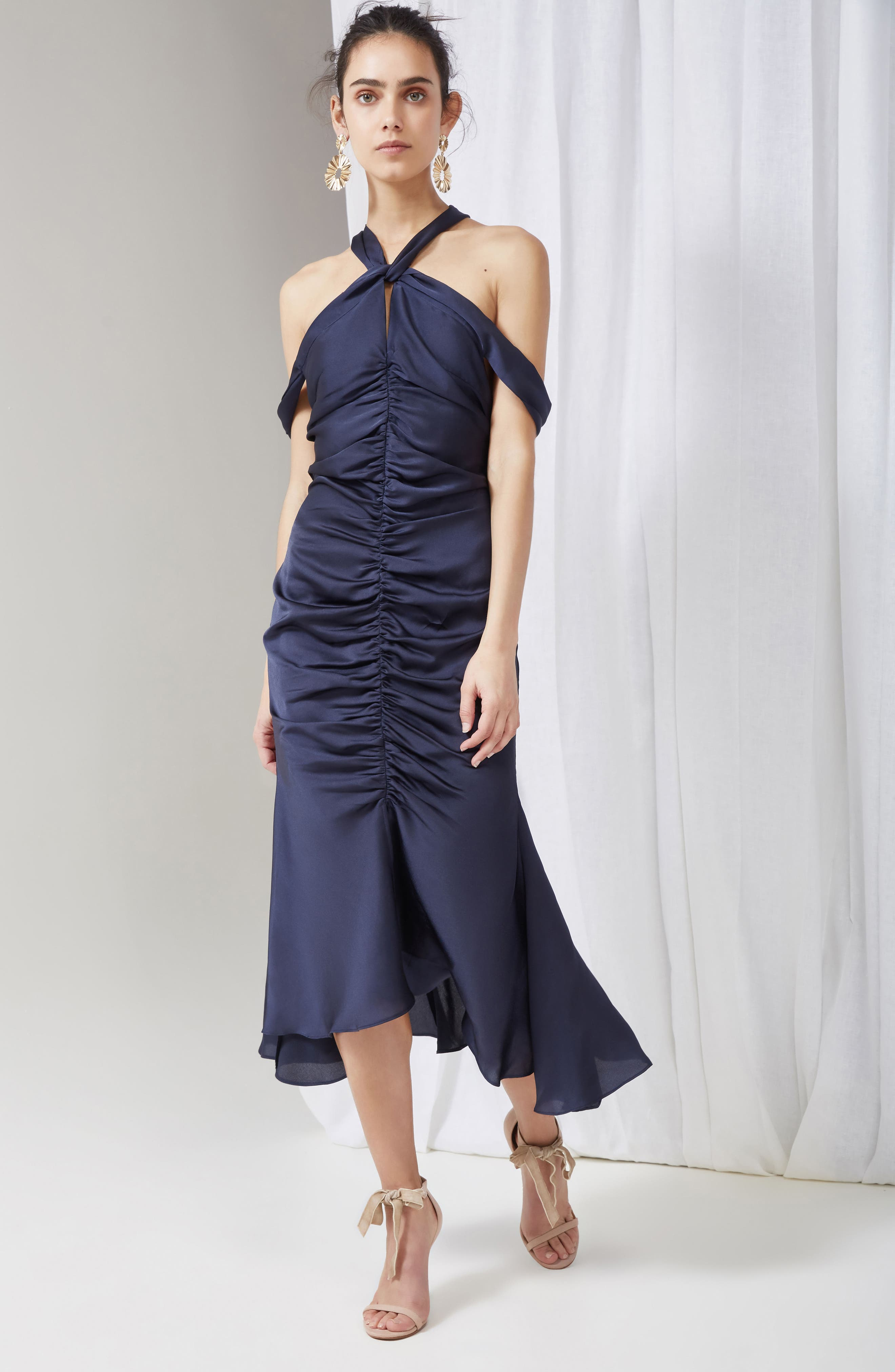 Dark Paradise Strappy Back Ruched Midi Dress,                             Alternate thumbnail 2, color,                             Navy