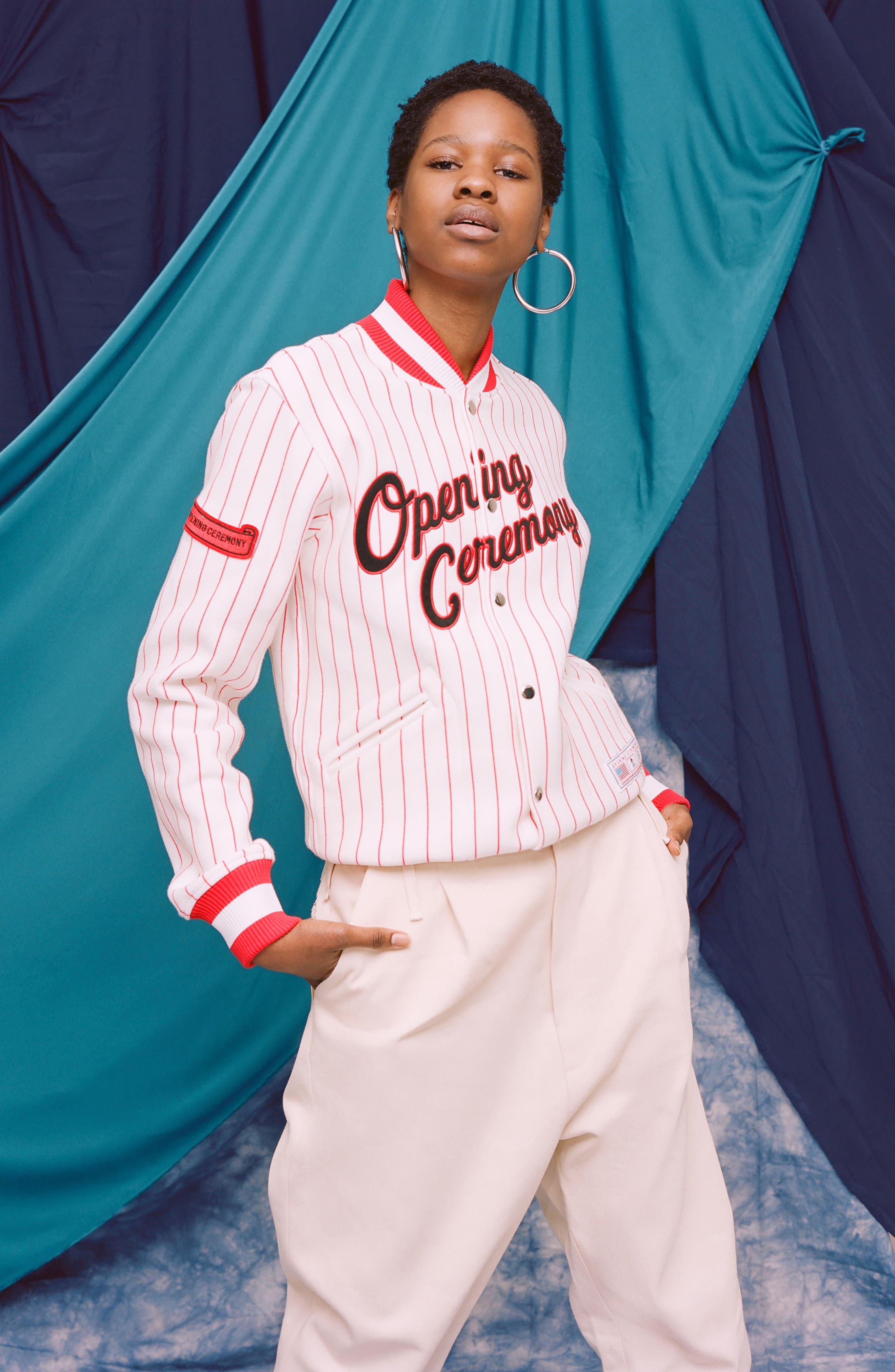 Pinstripe Varsity Jacket,                             Alternate thumbnail 2, color,                             White
