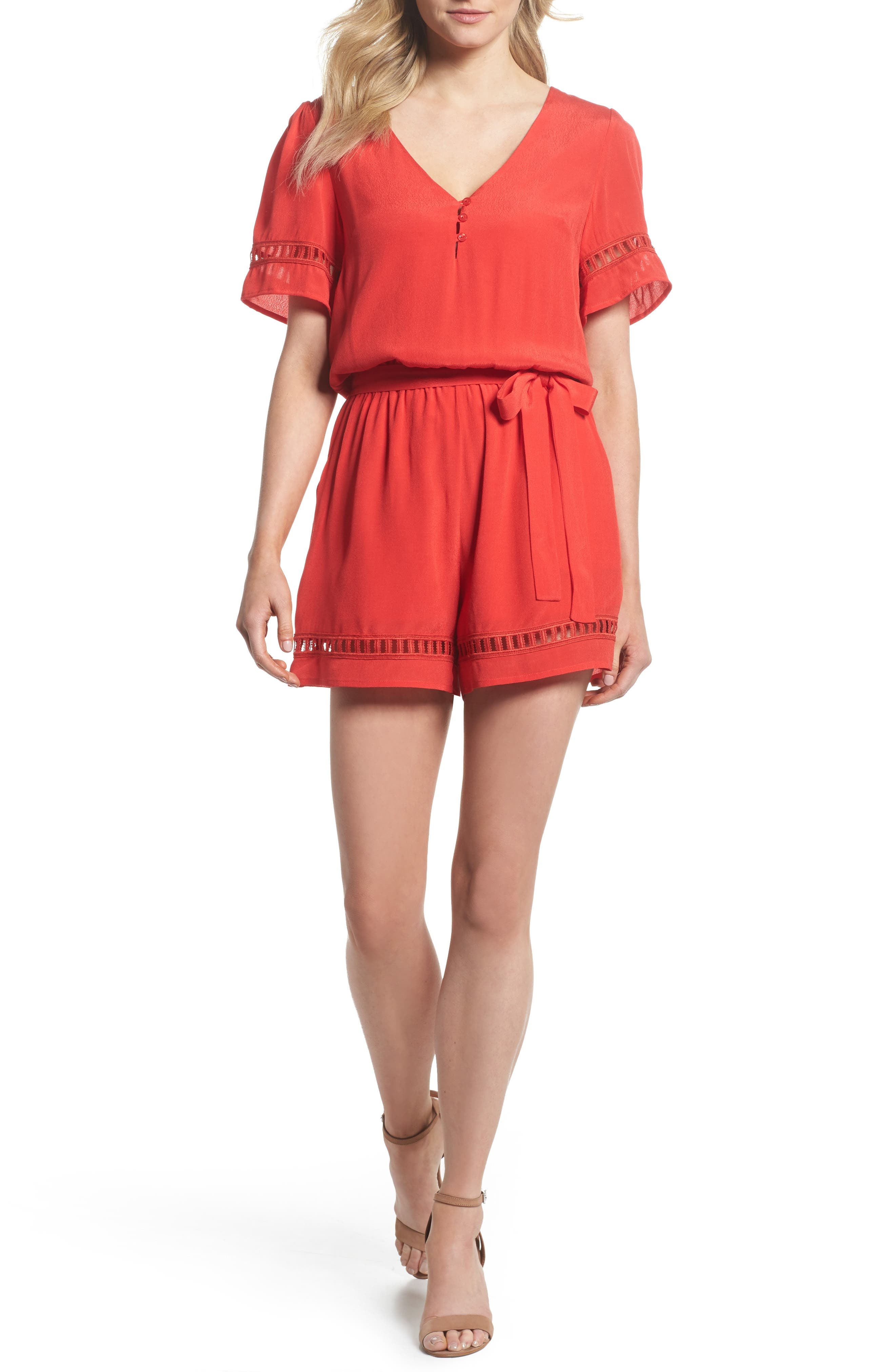 Lace Inset Romper,                         Main,                         color, Red