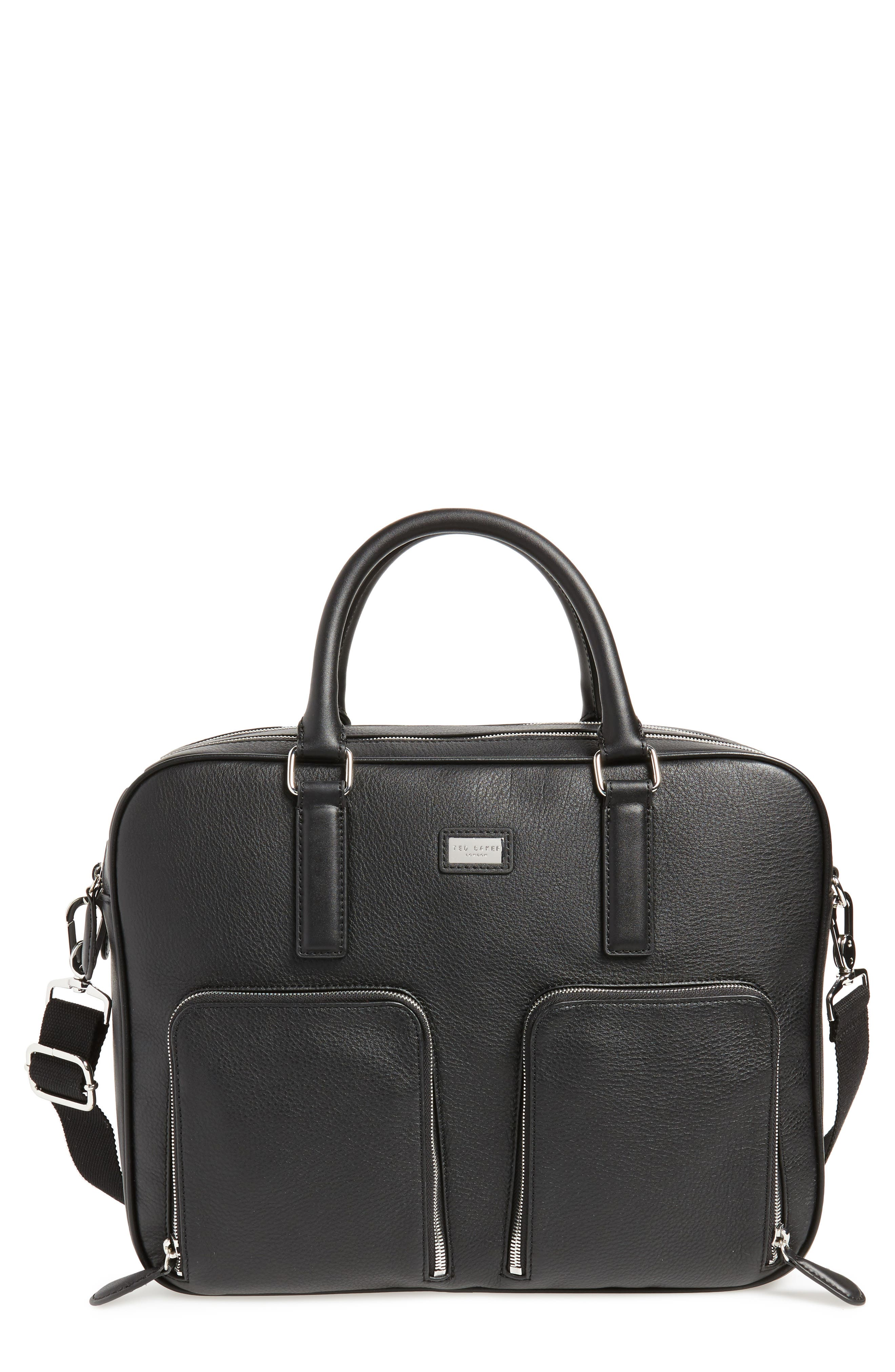 Toother Leather Briefcase,                         Main,                         color, Black