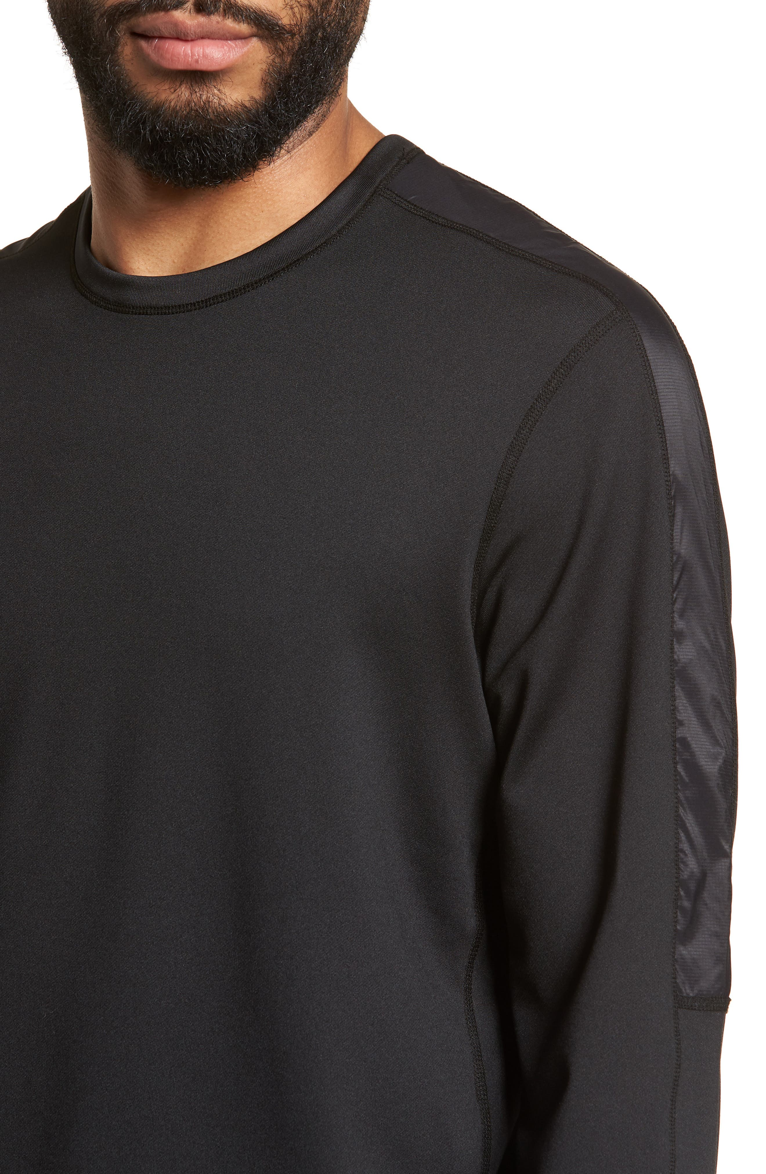 Hybrid Coolmax Crewneck Shirt,                             Alternate thumbnail 4, color,                             Black