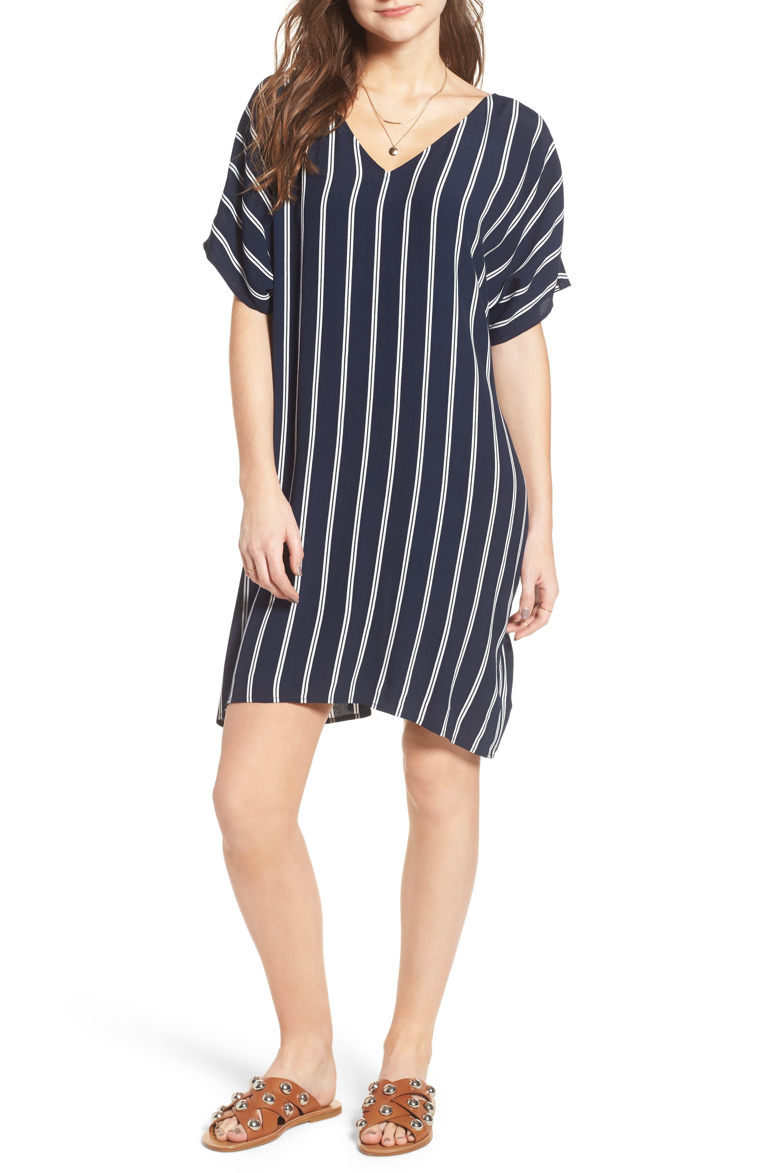 Stripe Plaza Dress,                             Main thumbnail 1, color,                             Double Deep Navy