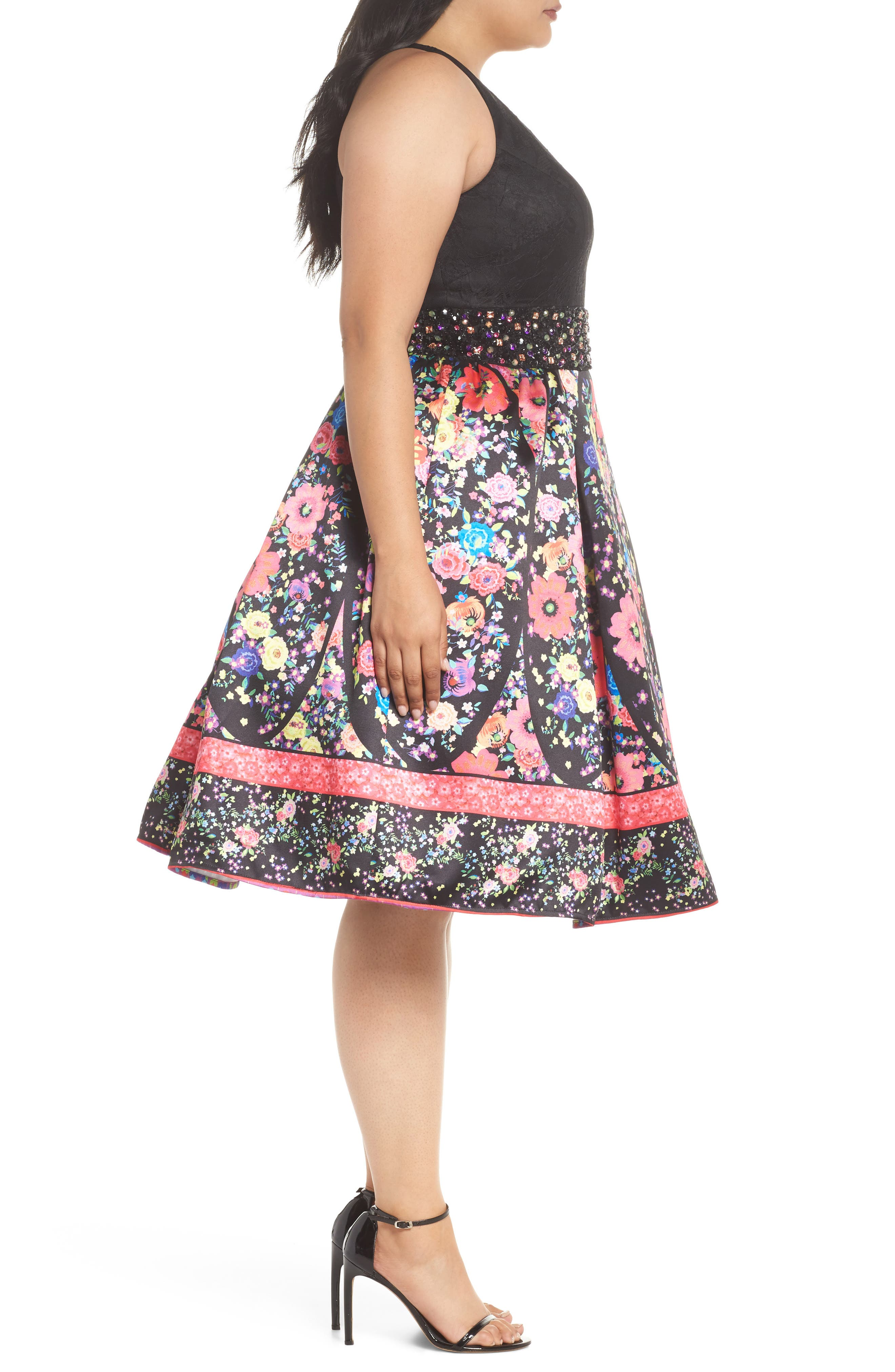 Alternate Image 3  - Mac Duggal Lace & Floral Halter Fit & Flare Dress (Plus Size)