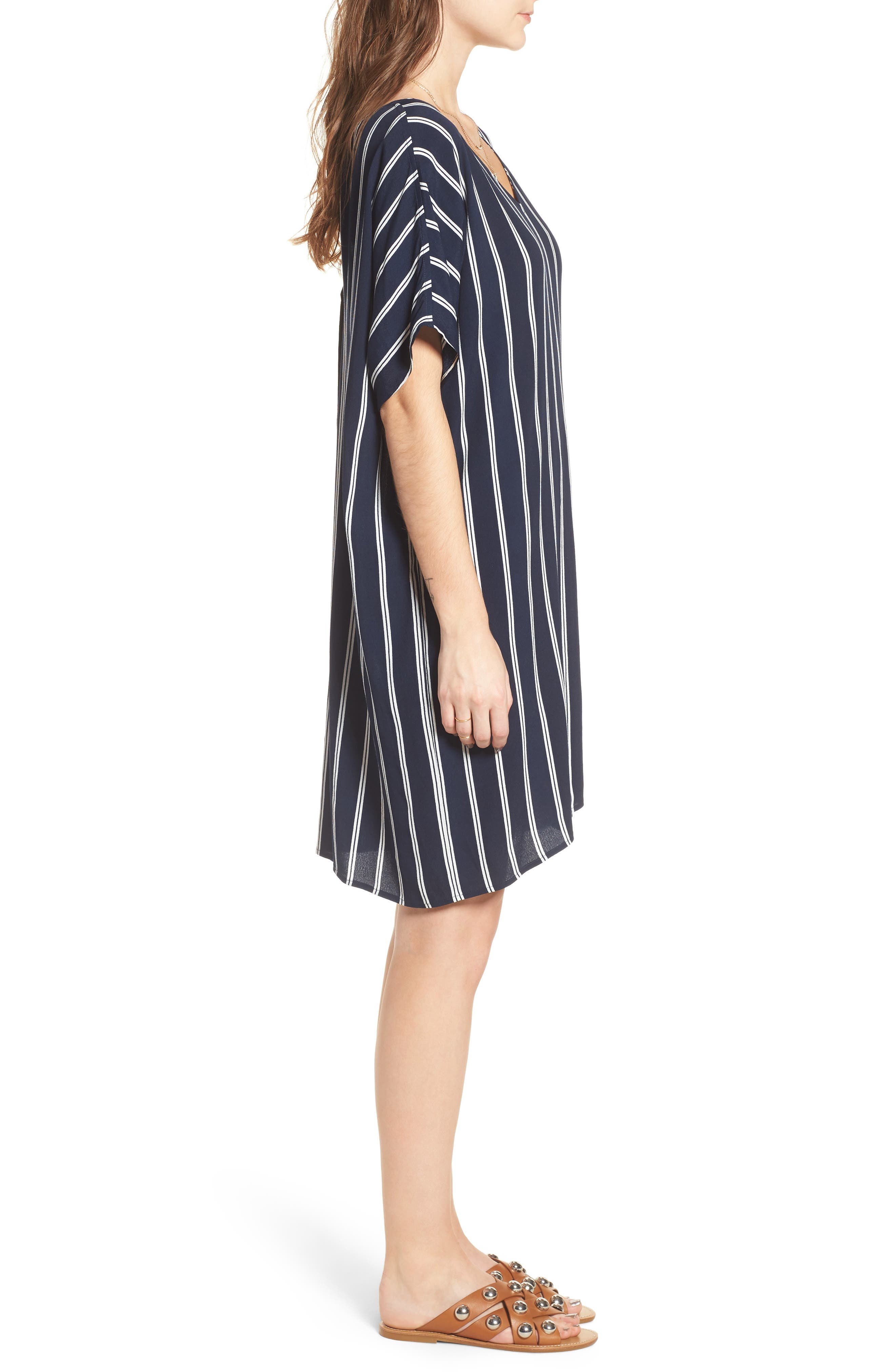 Stripe Plaza Dress,                             Alternate thumbnail 3, color,                             Double Deep Navy