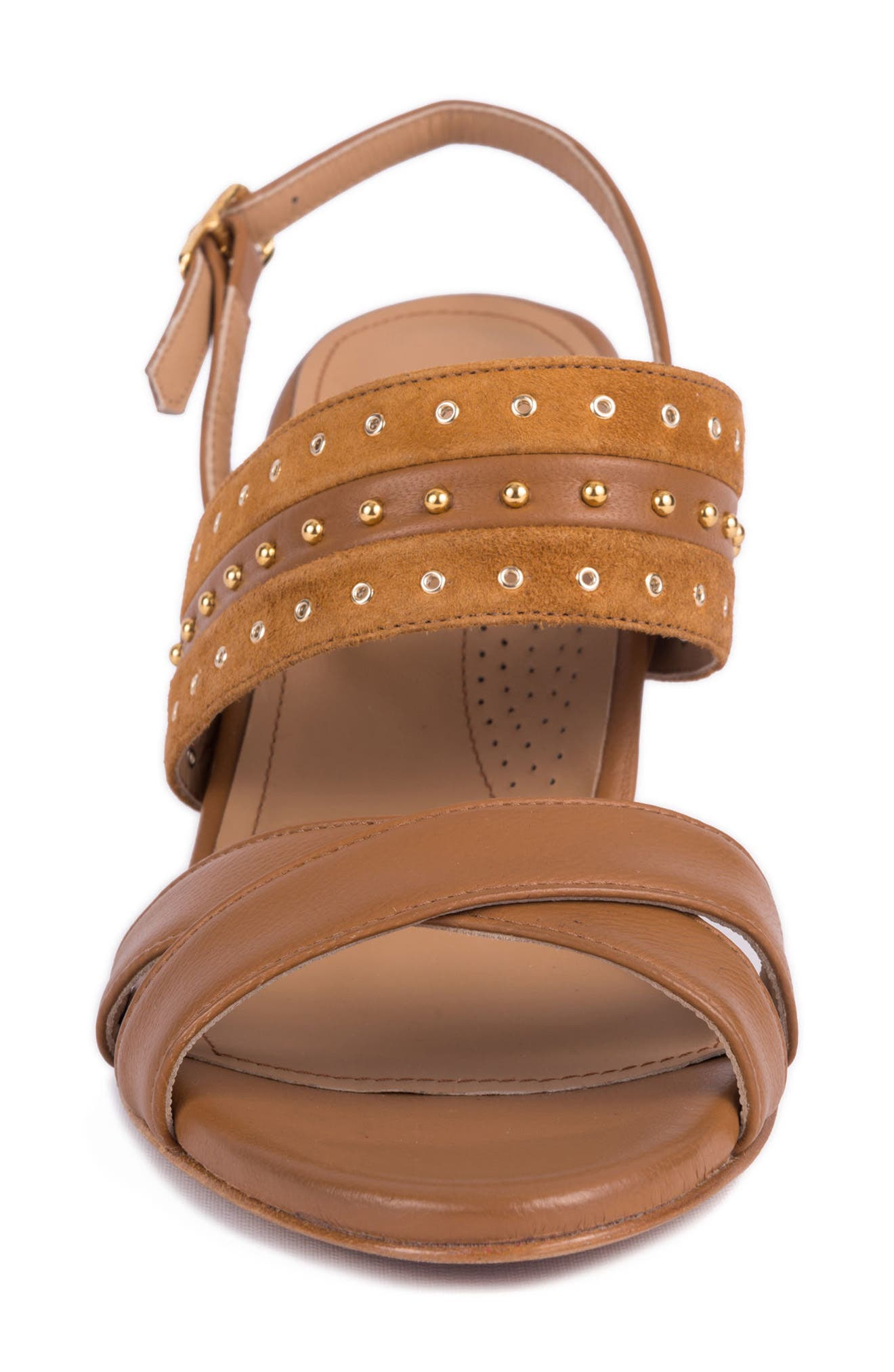 Soldani Studded Slingback Sandal,                             Alternate thumbnail 4, color,                             Miele