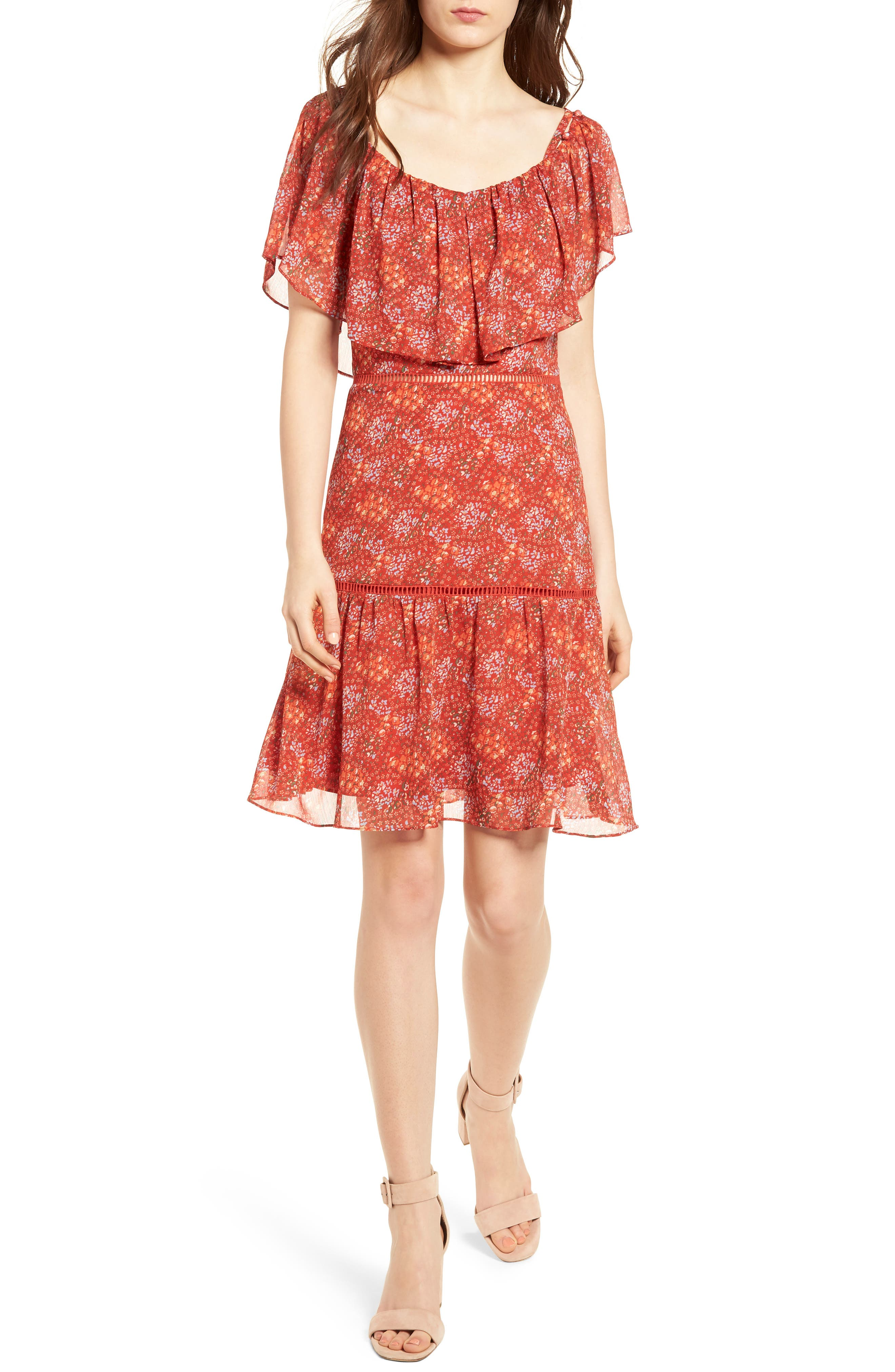 Lynne Chiffon Dress,                         Main,                         color, Red Multi