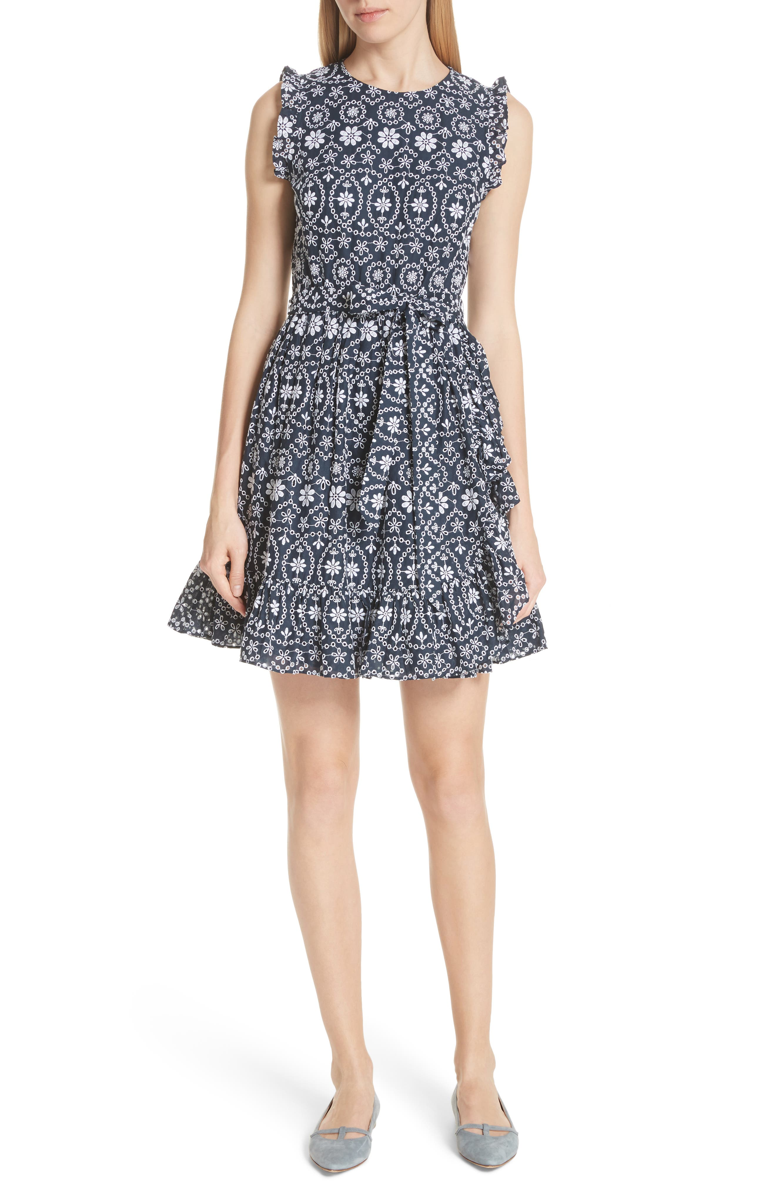 eyelet fit & flare dress,                         Main,                         color, Rich Navy/ Fresh White