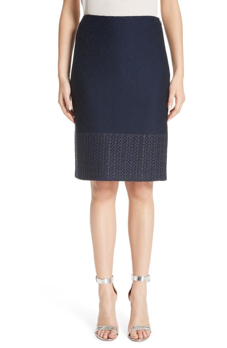 Caris Geo Lace Trim Knit Pencil Skirt