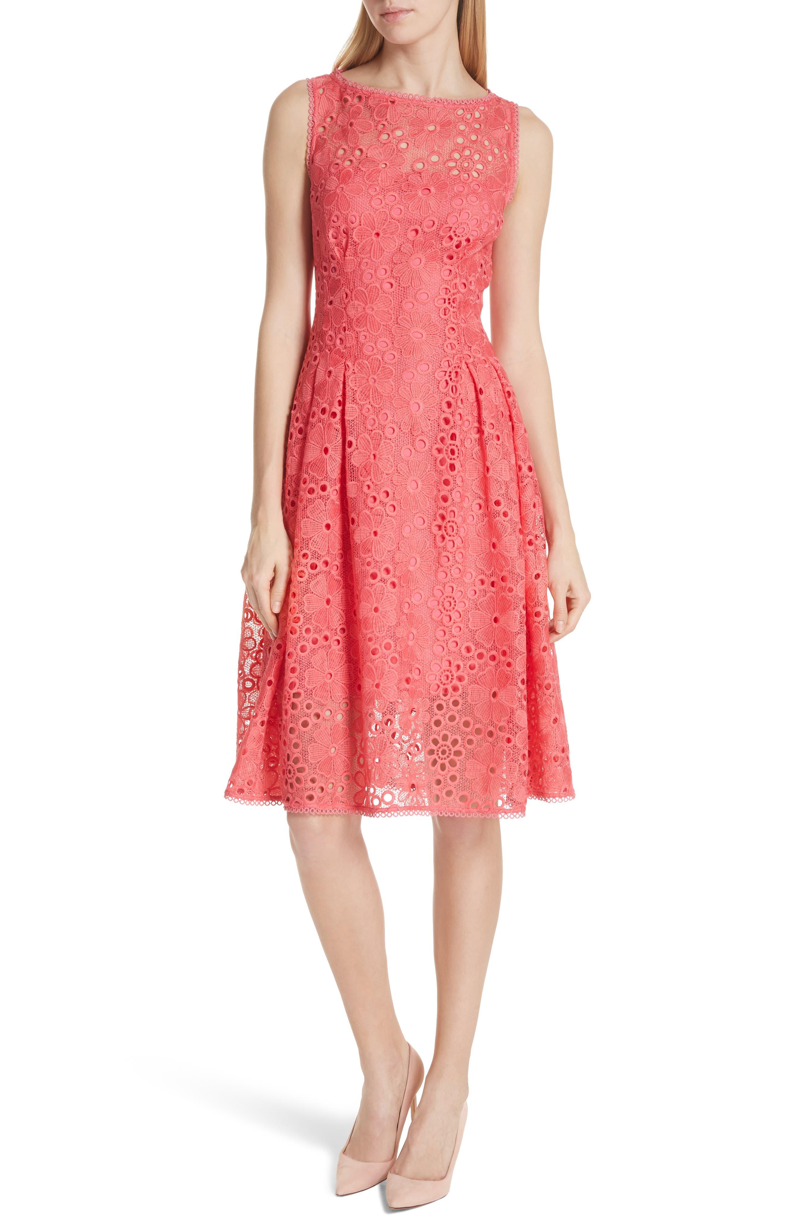 lace fit & flare dress,                             Main thumbnail 1, color,                             Peach Sherbet