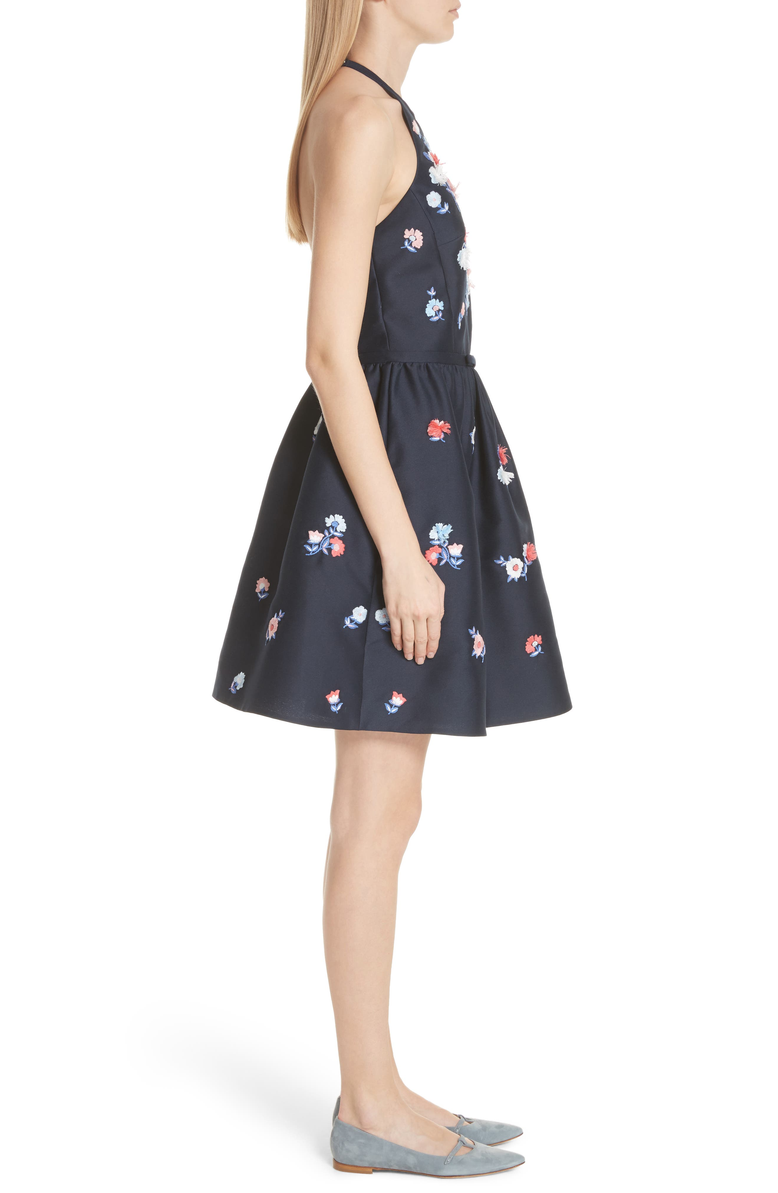 pom pom embrroidered fit & flare dress,                             Alternate thumbnail 3, color,                             Rich Navy