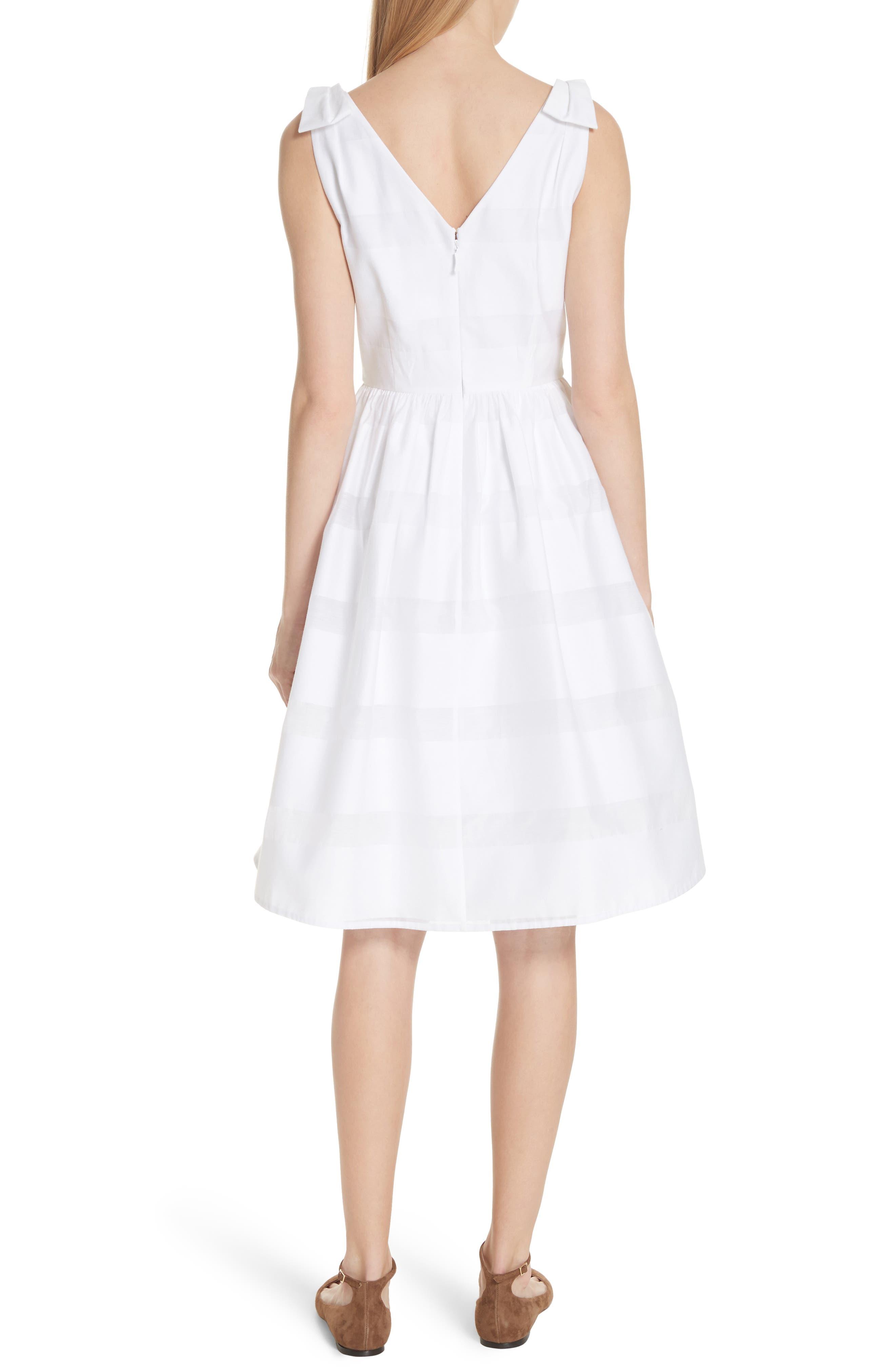 tonal stripe fit & flare dress,                             Alternate thumbnail 2, color,                             Fresh White