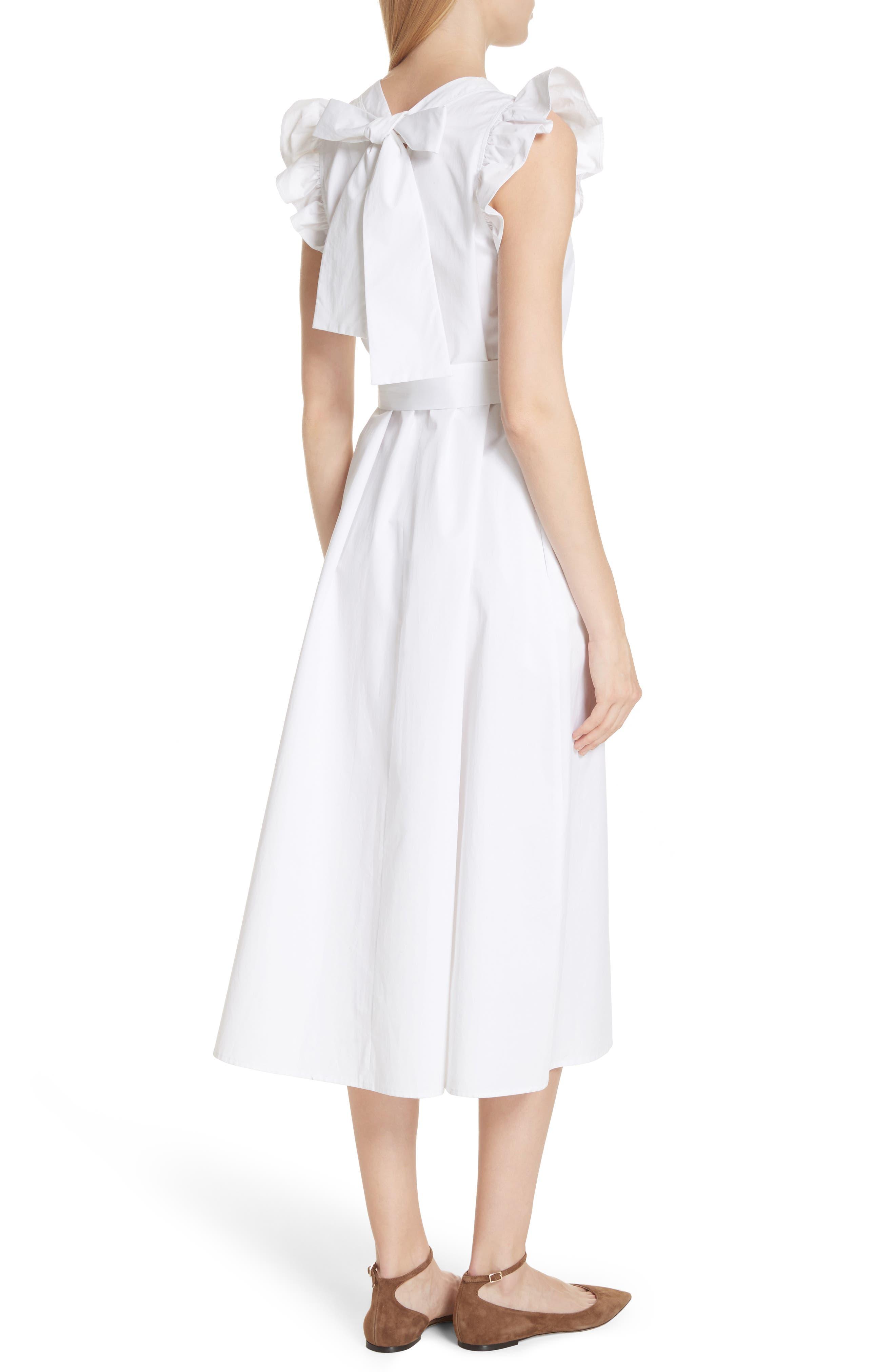 ruffle cotton poplin dress,                             Alternate thumbnail 2, color,                             Fresh White