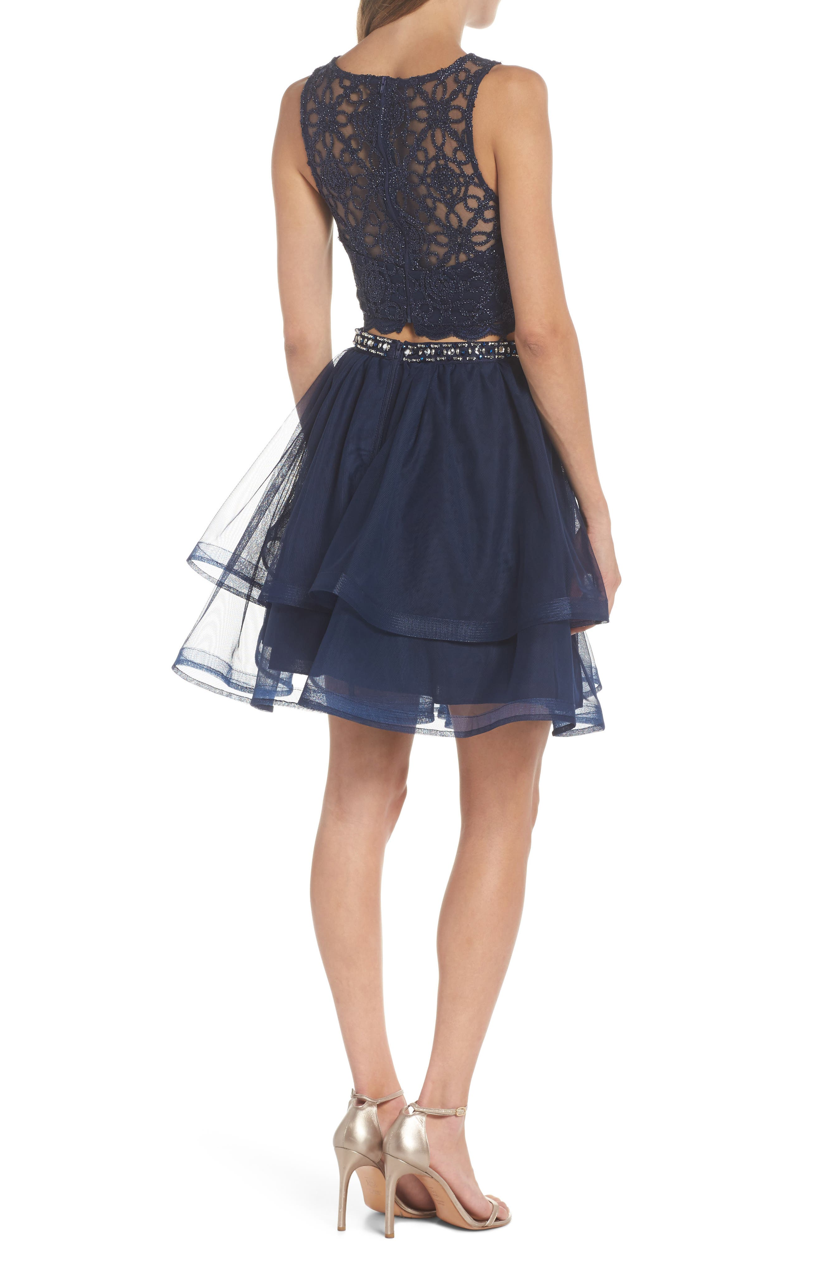 Chain Lace Mesh Two-Piece Dress,                             Alternate thumbnail 2, color,                             Navy