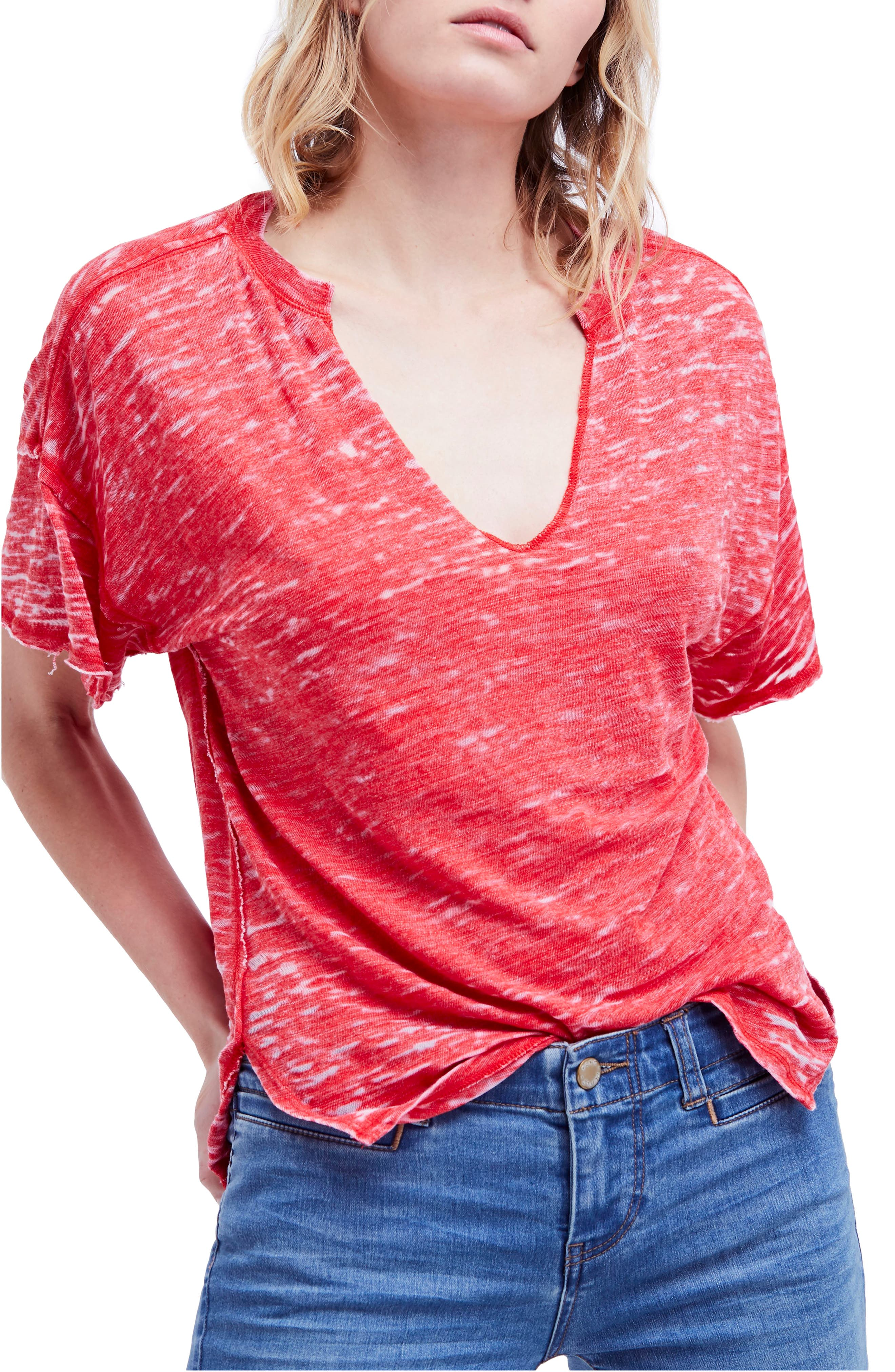 Maddie Burnout Tee,                         Main,                         color, Red