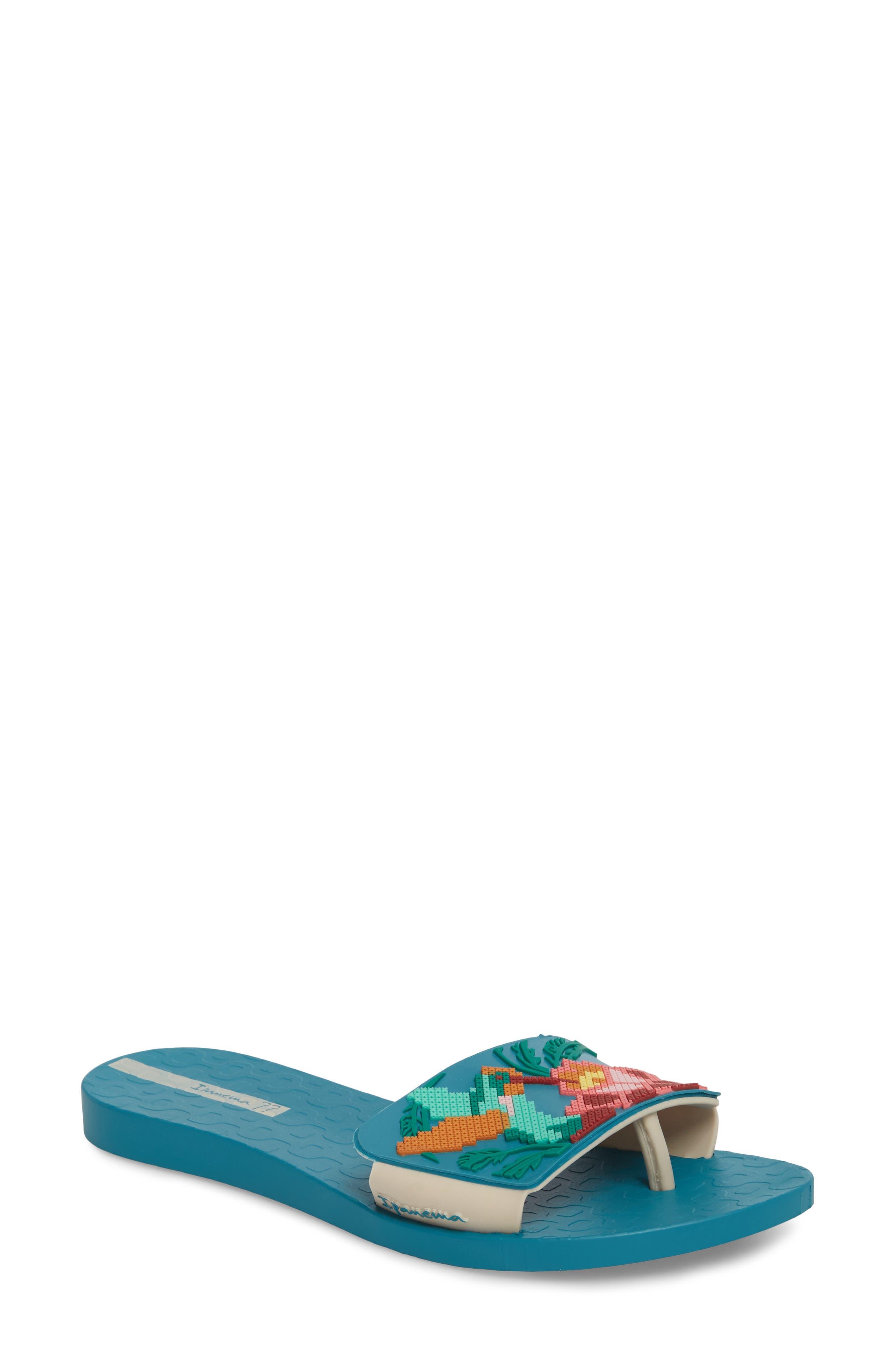 IPANEMA Nectar Floral Slide Sandal in Blue/ Beige