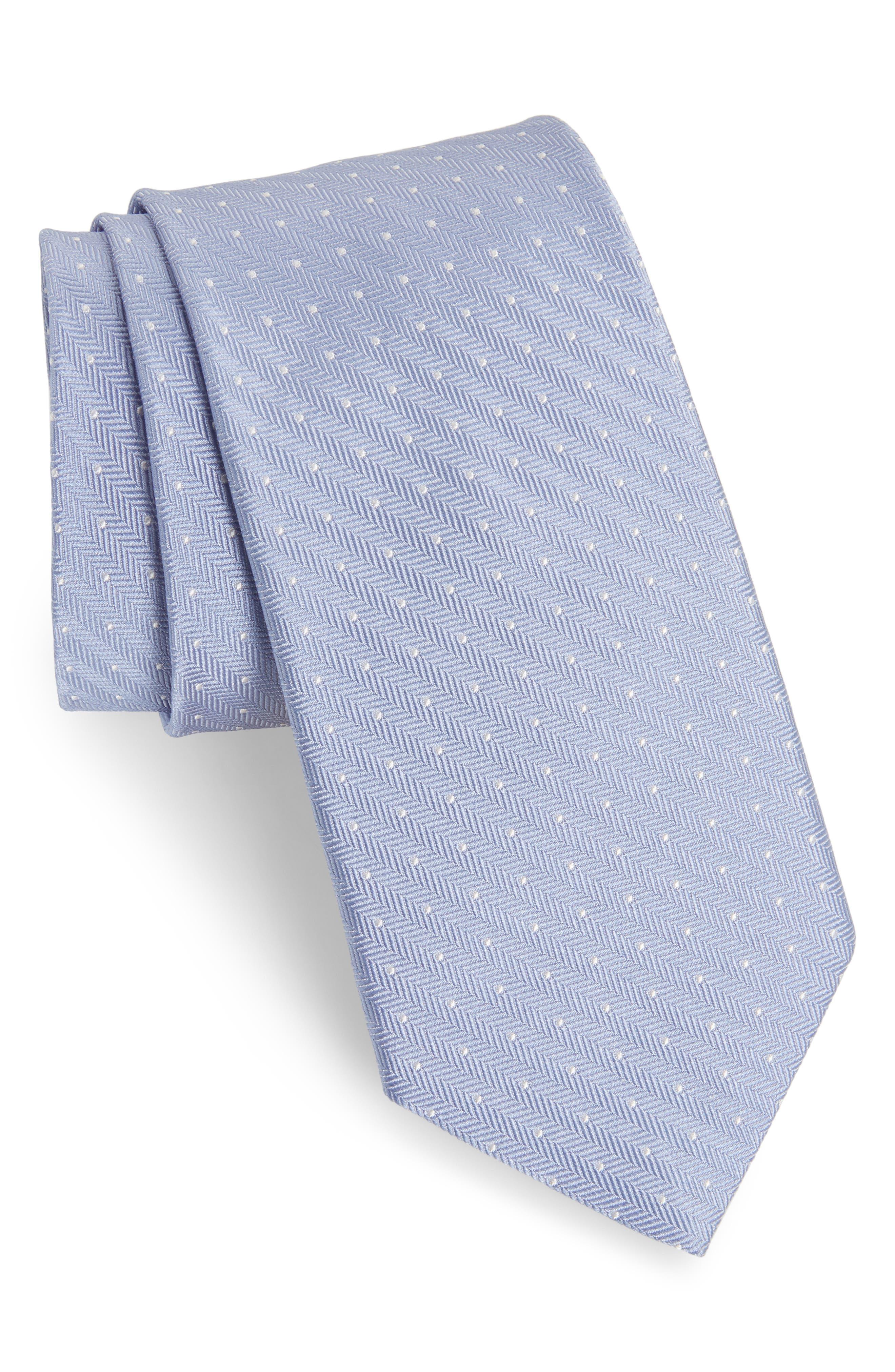 Herringbone Dot Silk Tie,                         Main,                         color, Herringbone Dot Airy Blue