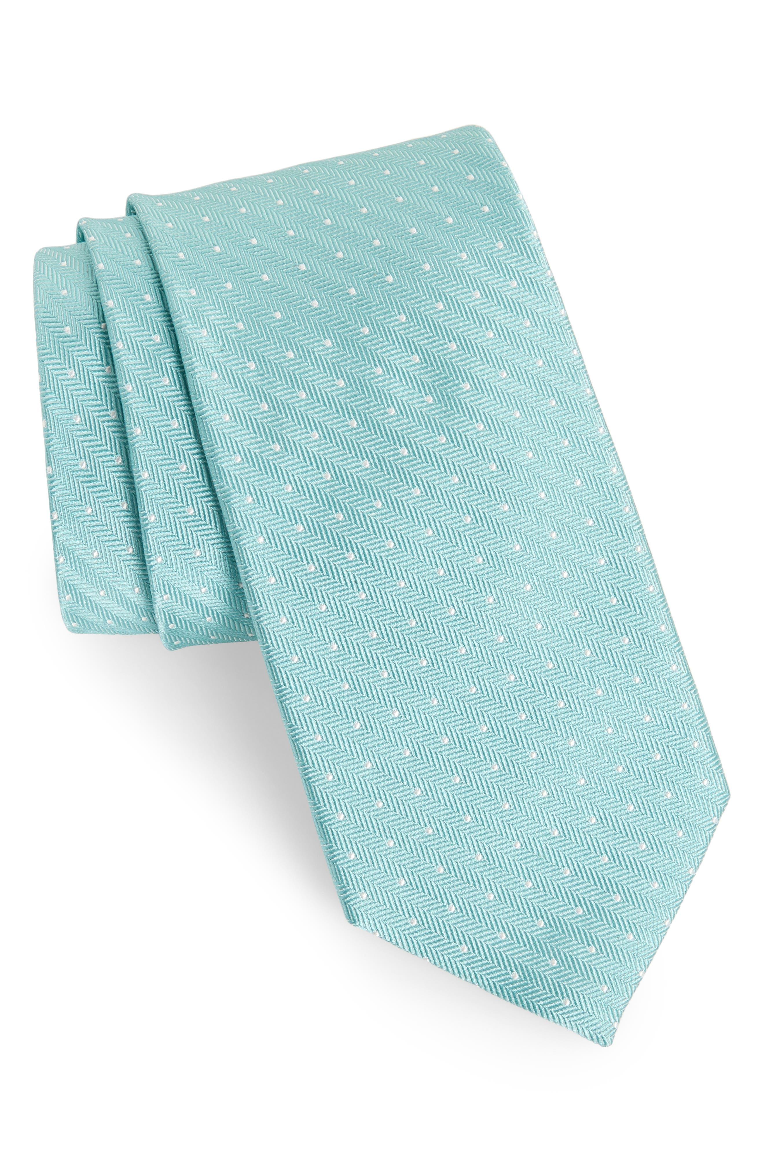 Herringbone Dot Silk Tie,                             Main thumbnail 1, color,                             Herringbone Dot Bermuda