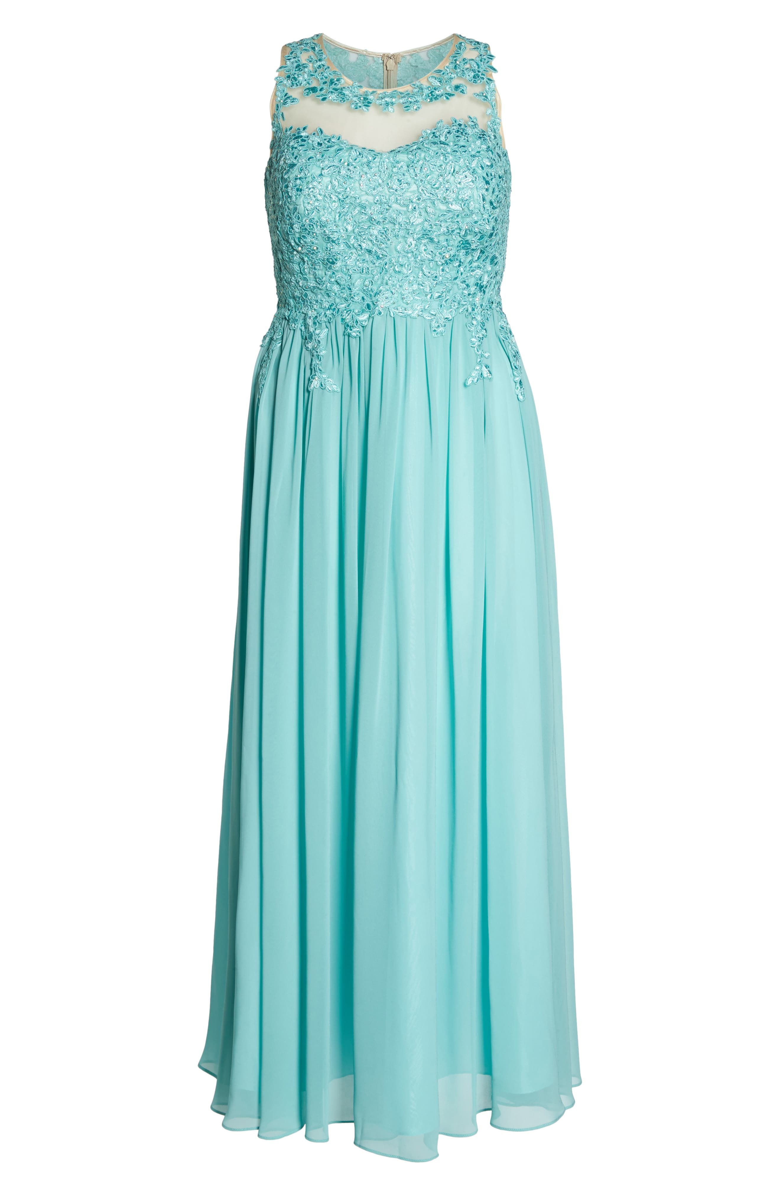 Embellished A-Line Chiffon Gown,                             Alternate thumbnail 6, color,                             Mint