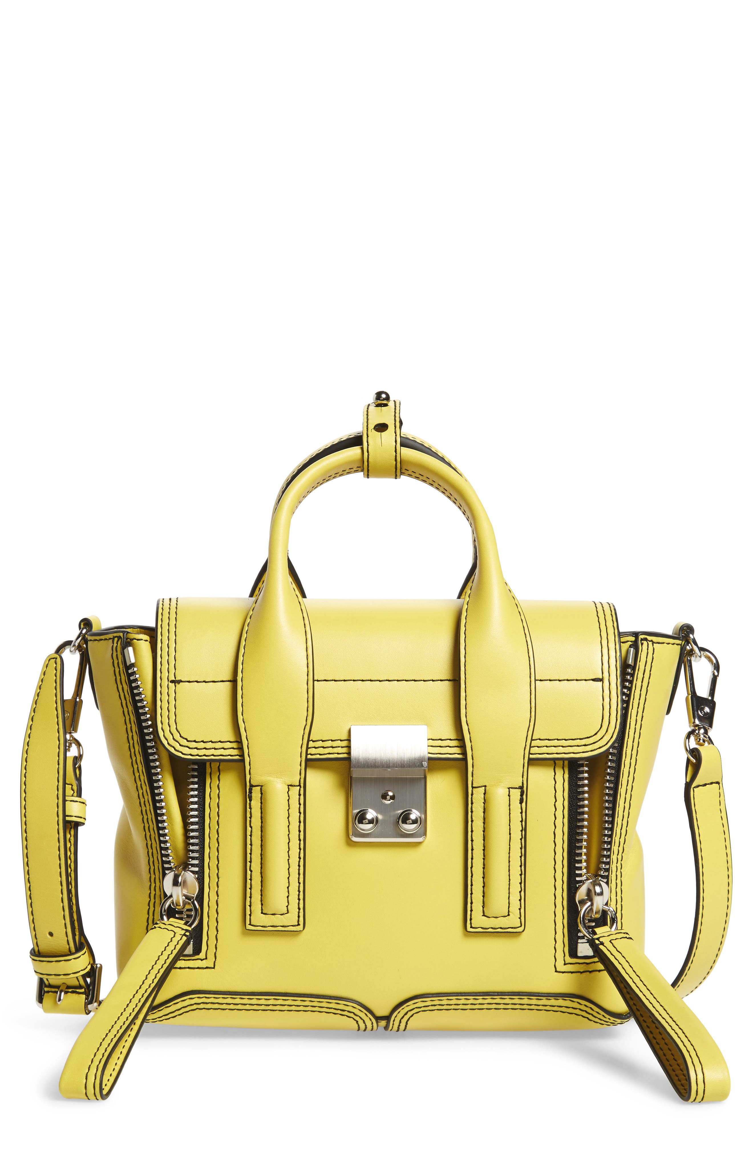 Mini Pashli Leather Satchel,                             Main thumbnail 1, color,                             Chartreuse