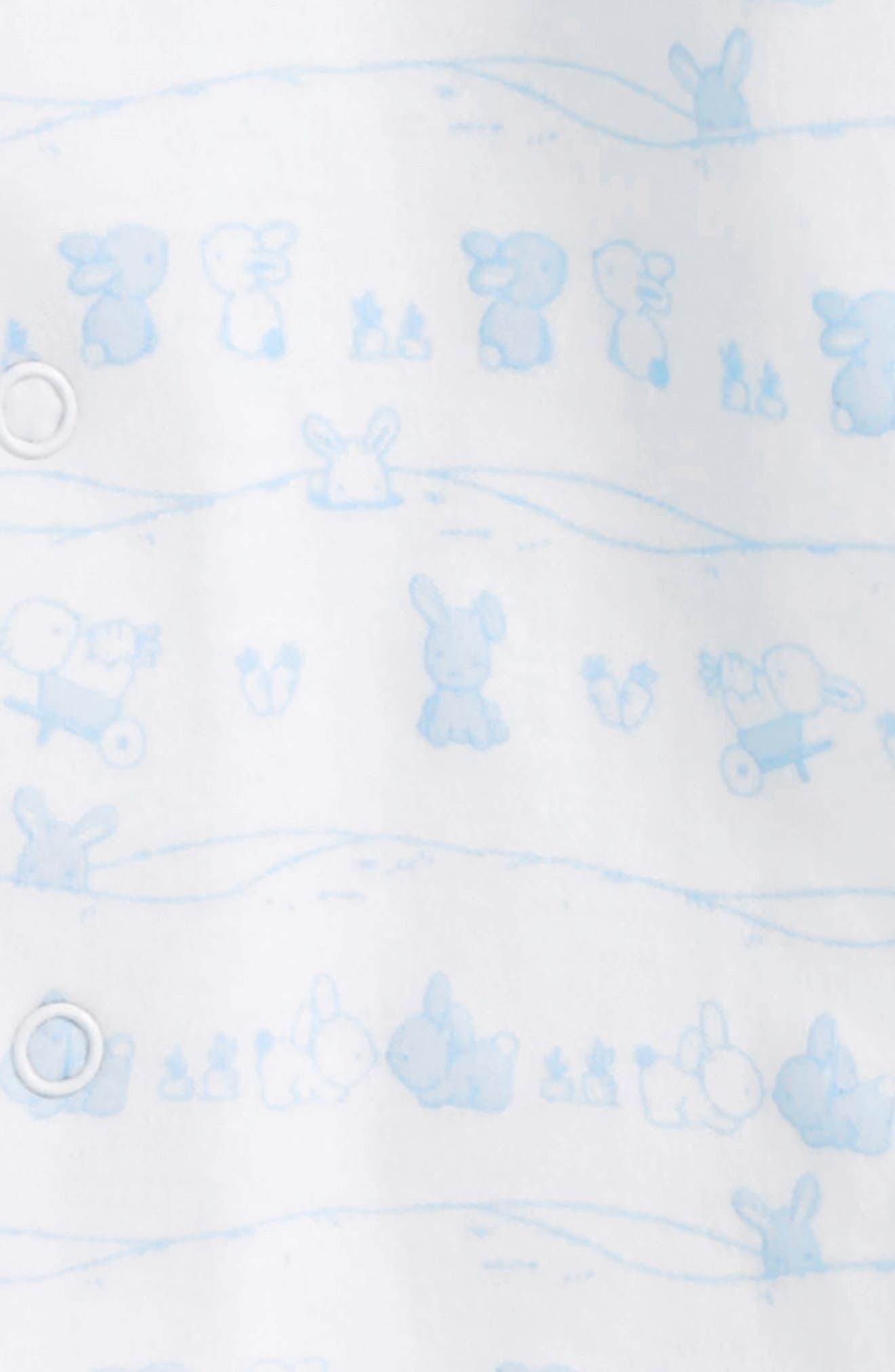 Bunny Tails Pima Cotton Footie,                             Alternate thumbnail 2, color,                             Light Blue
