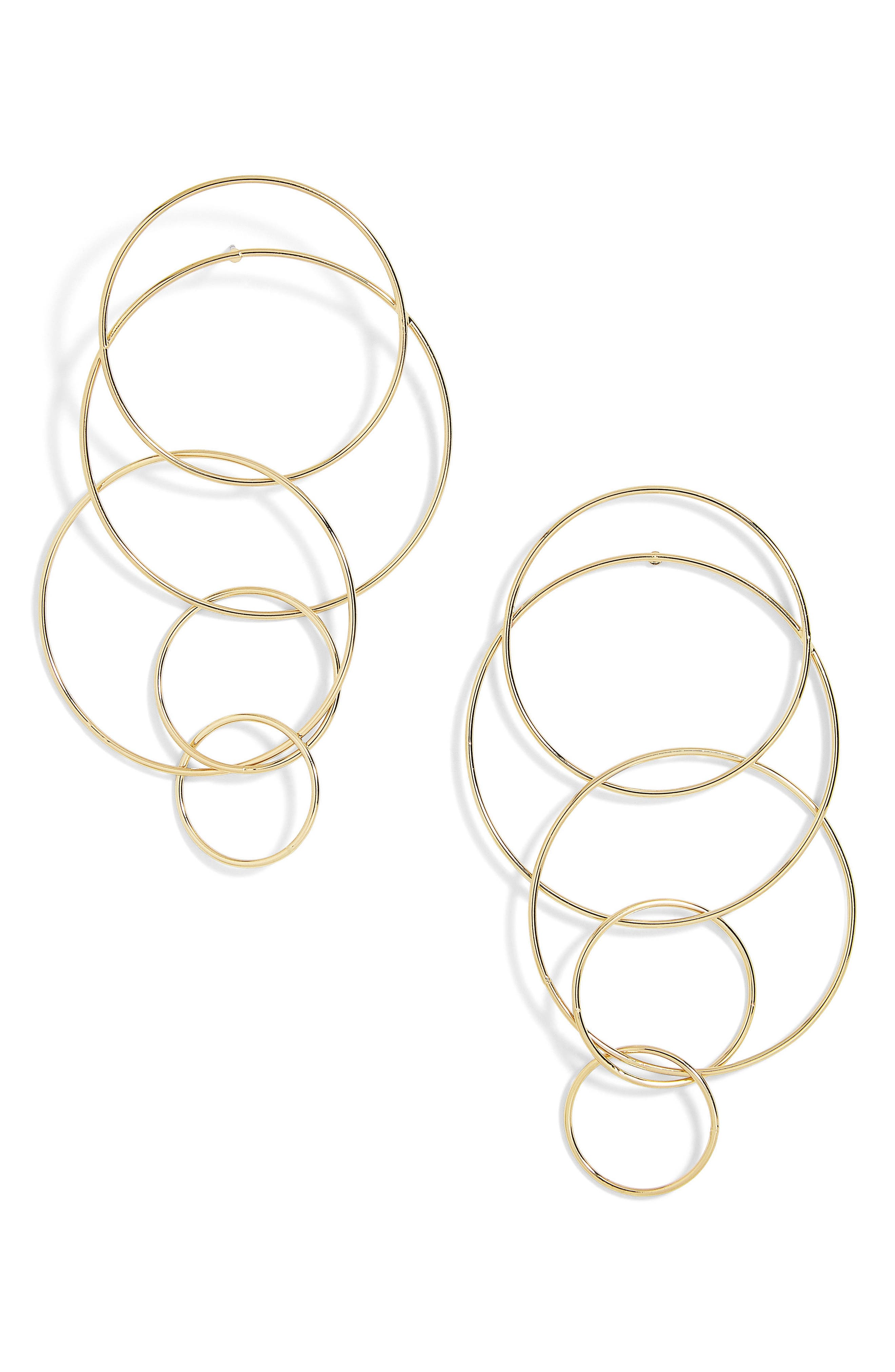 Mixed Size Layered Hoop Earrings,                             Main thumbnail 1, color,                             Gold