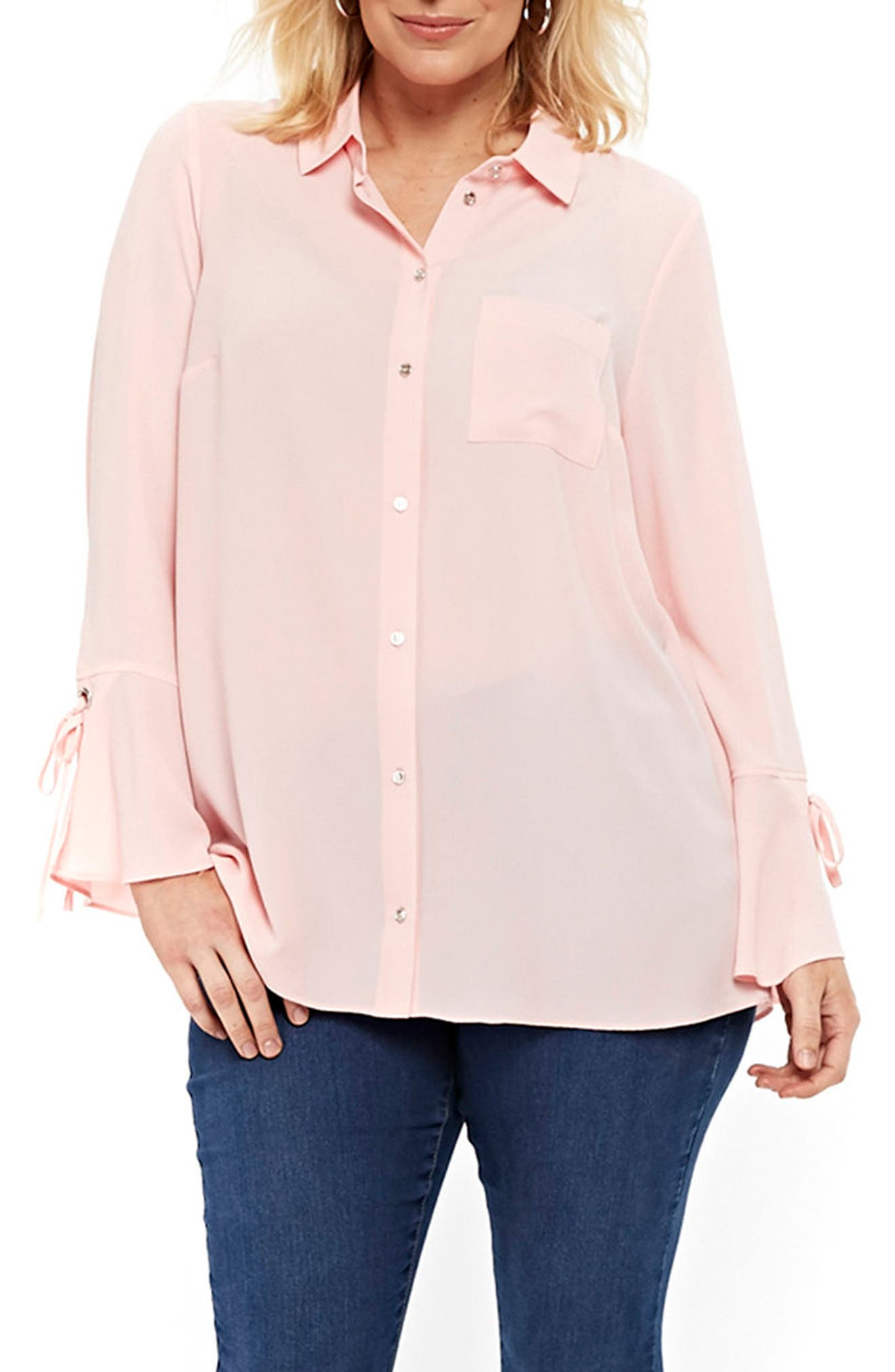 Lace-Up Cuff Shirt,                             Main thumbnail 1, color,                             Pale Pink