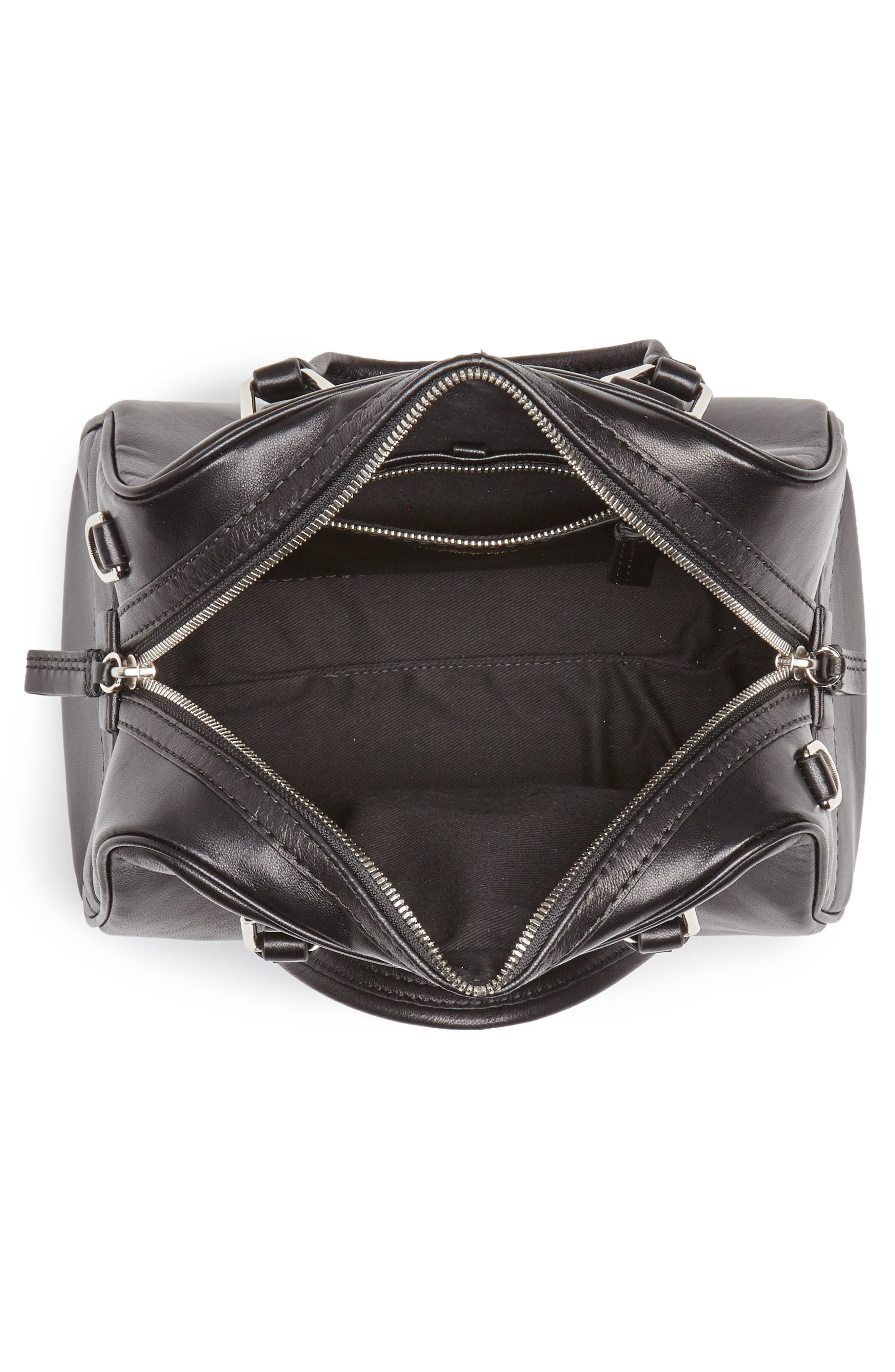 Small Ray Lambskin Leather Flight Bag,                             Alternate thumbnail 4, color,                             Black