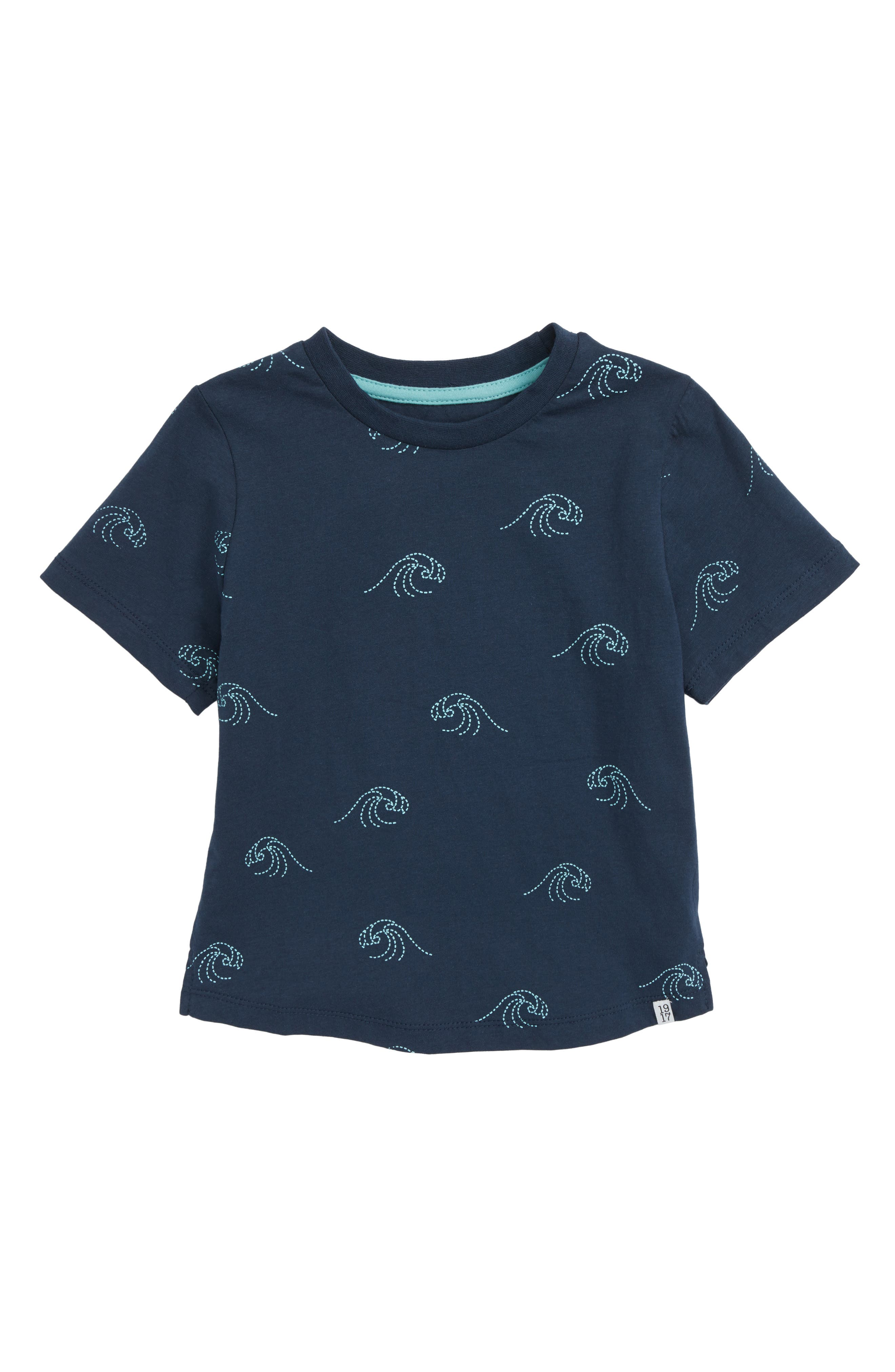 Feel Embroidered T-Shirt,                         Main,                         color, Navy