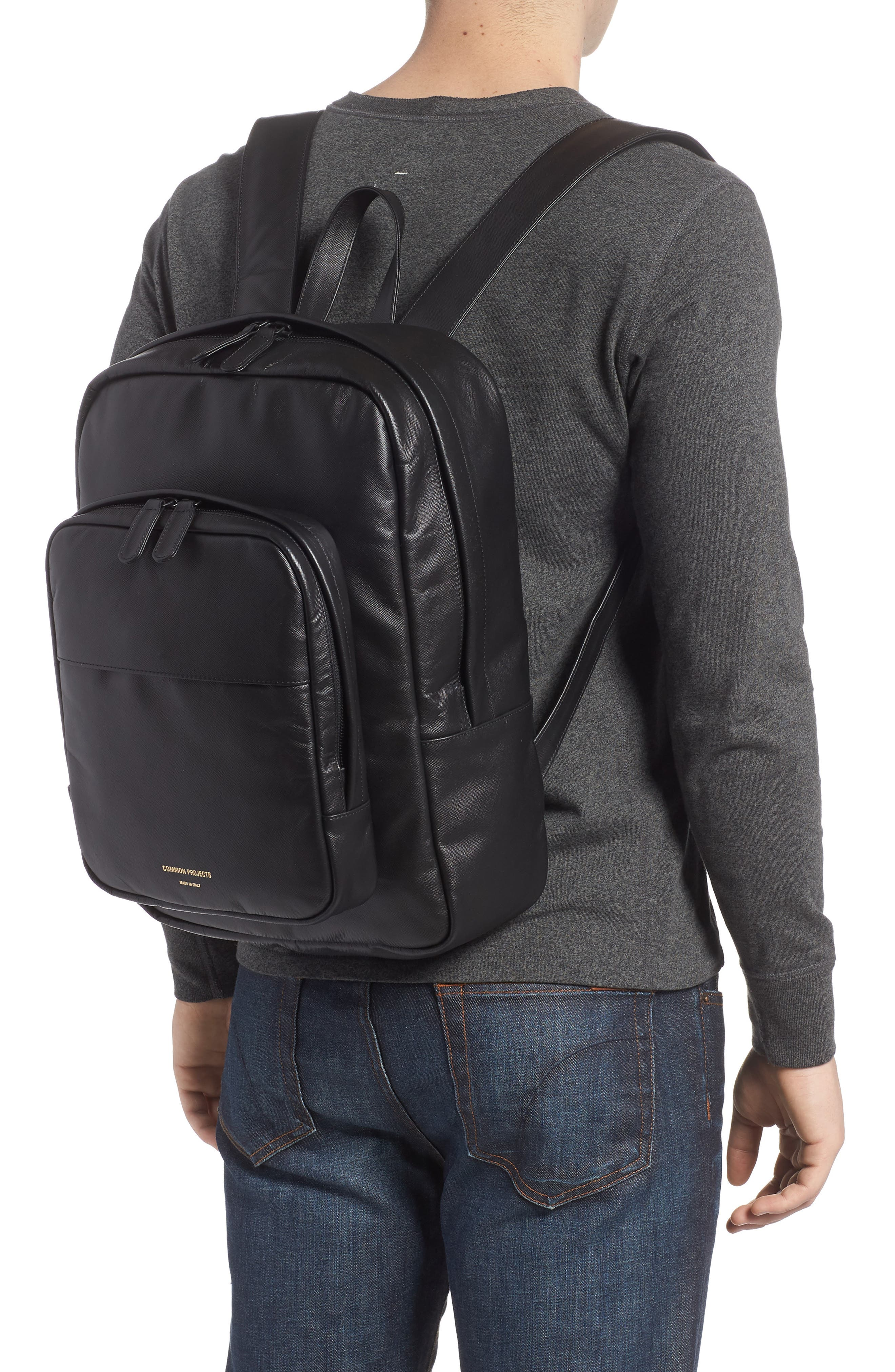 Saffiano Leather Backpack,                             Alternate thumbnail 2, color,                             Black