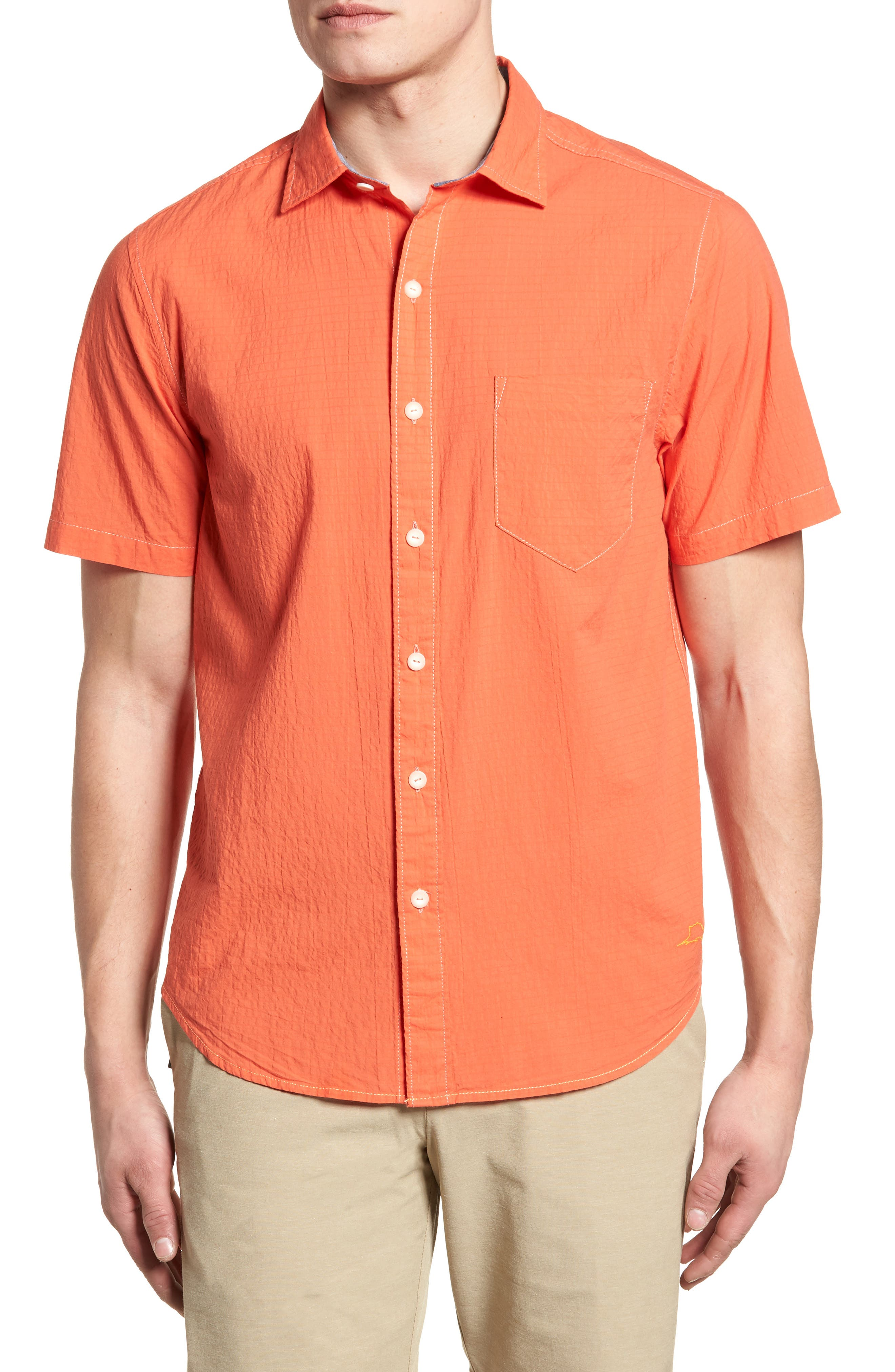 The Salvatore Standard Fit Sport Shirt,                         Main,                         color, Burnt Coral