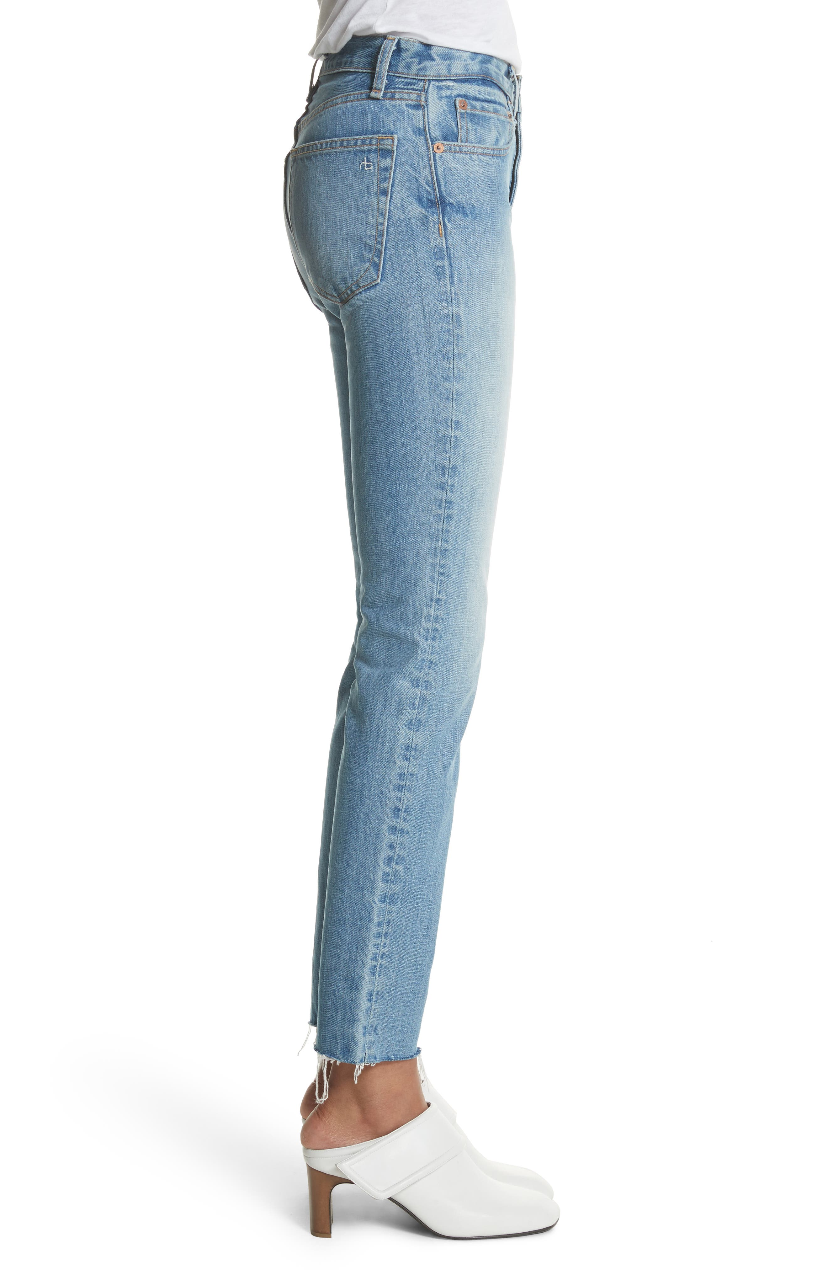 High Waist Ankle Skinny Jeans,                             Alternate thumbnail 3, color,                             Helena