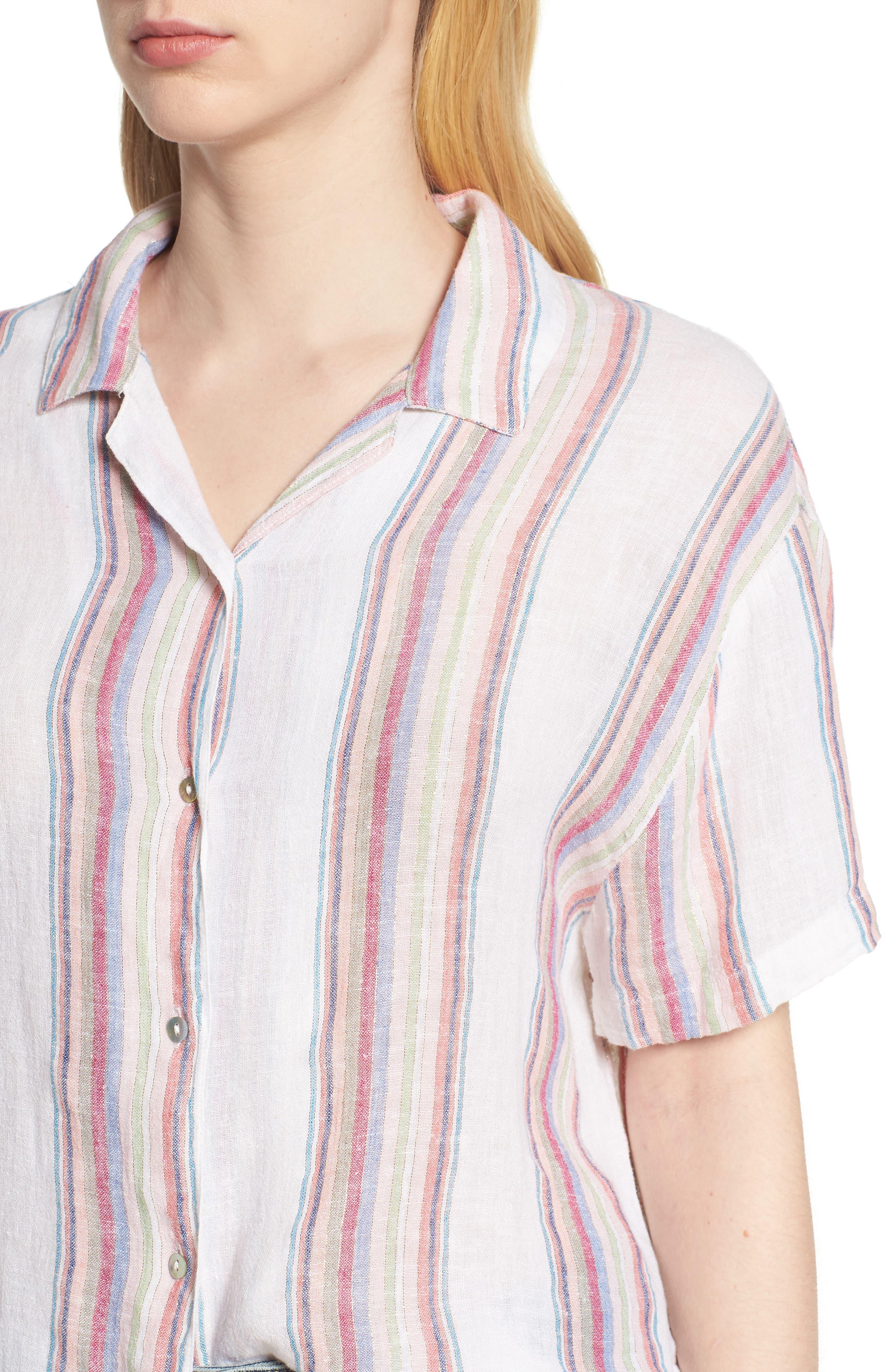Zuma Stripe Linen Blend Top,                             Alternate thumbnail 4, color,                             Havana Stripe