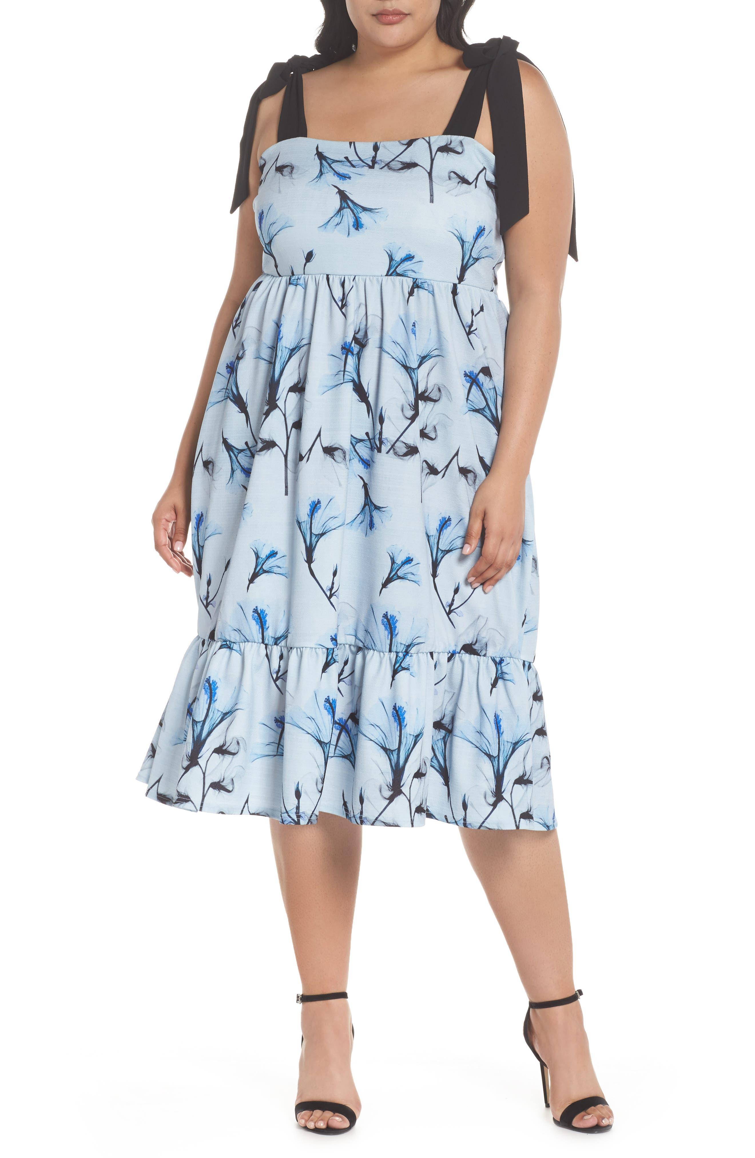 Tie Shoulder A-Line Dress,                         Main,                         color, Multi