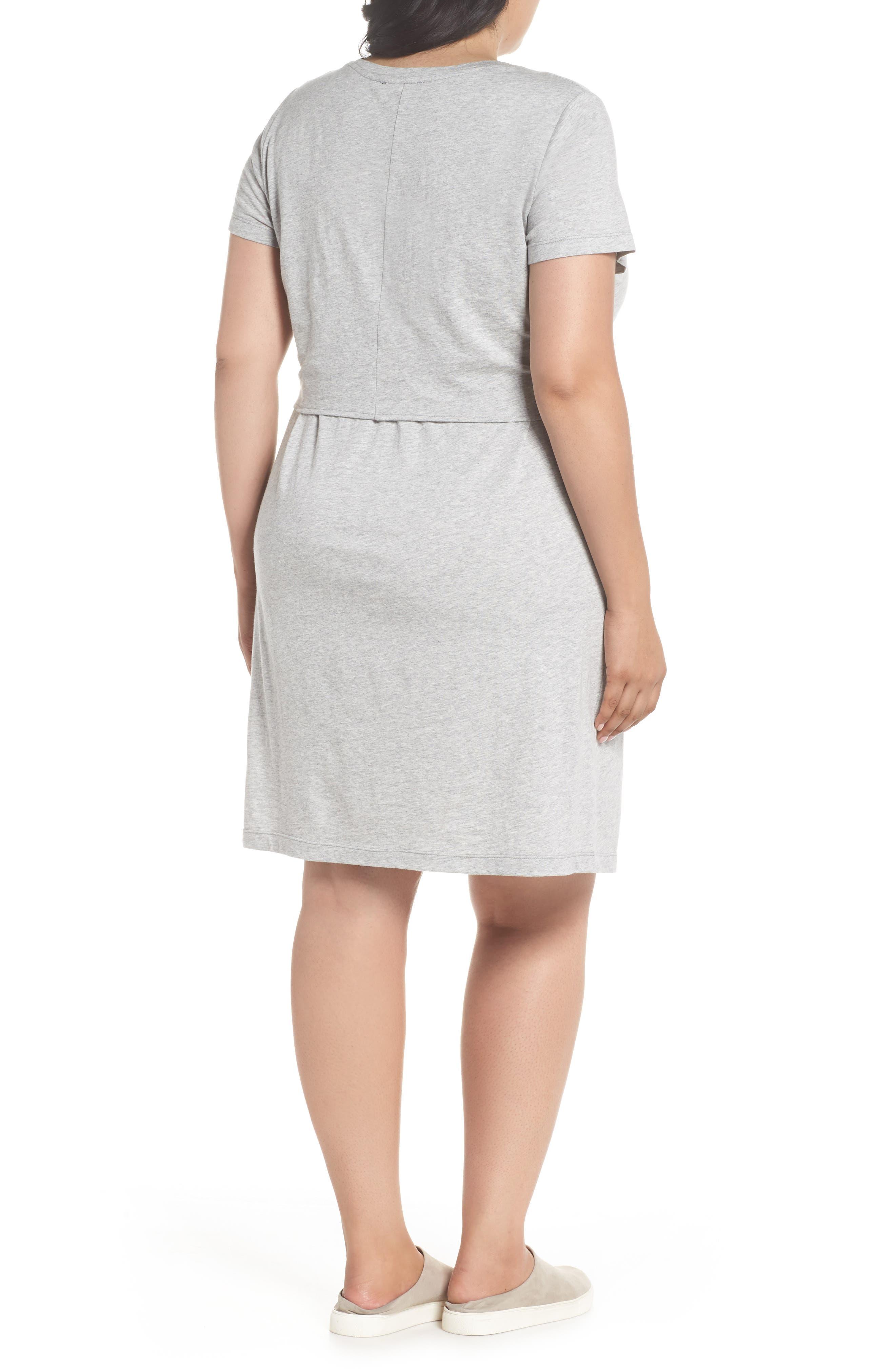 Juno Tie Waist T-Shirt Dress,                             Alternate thumbnail 2, color,                             Heather Grey