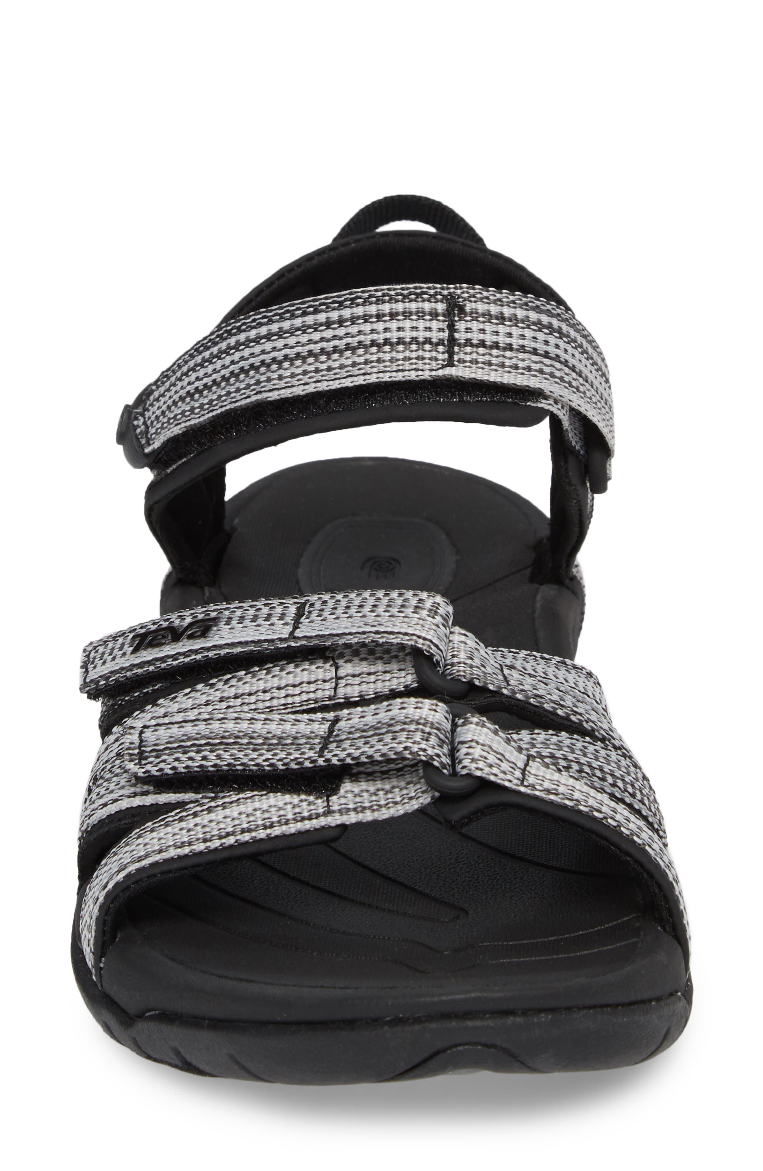 'Tirra' Sandal,                             Alternate thumbnail 4, color,                             Black/ White Multi Fabric