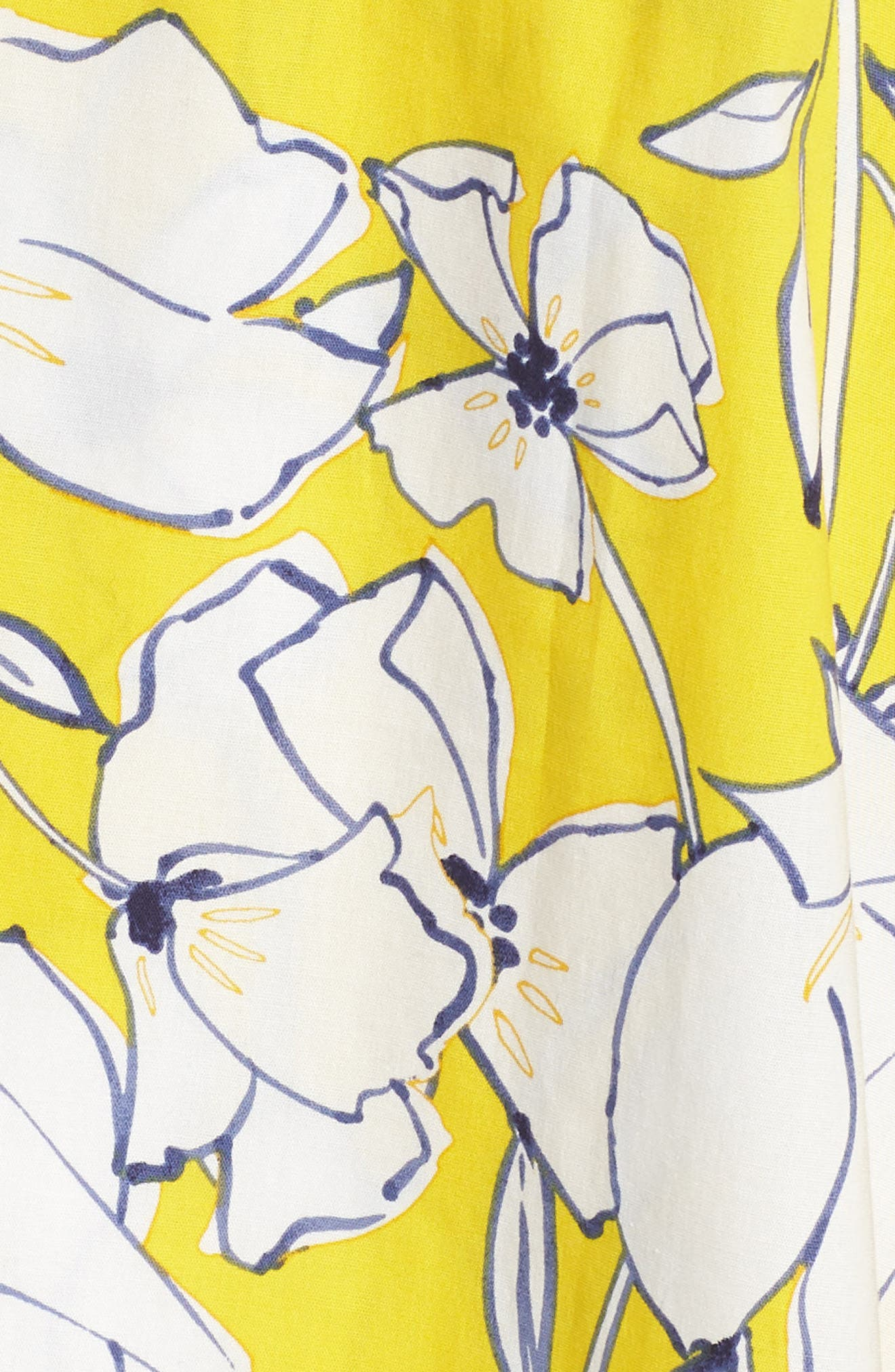 Floral Fit & Flare Dress,                             Alternate thumbnail 6, color,                             Yellow/ Navy/ White