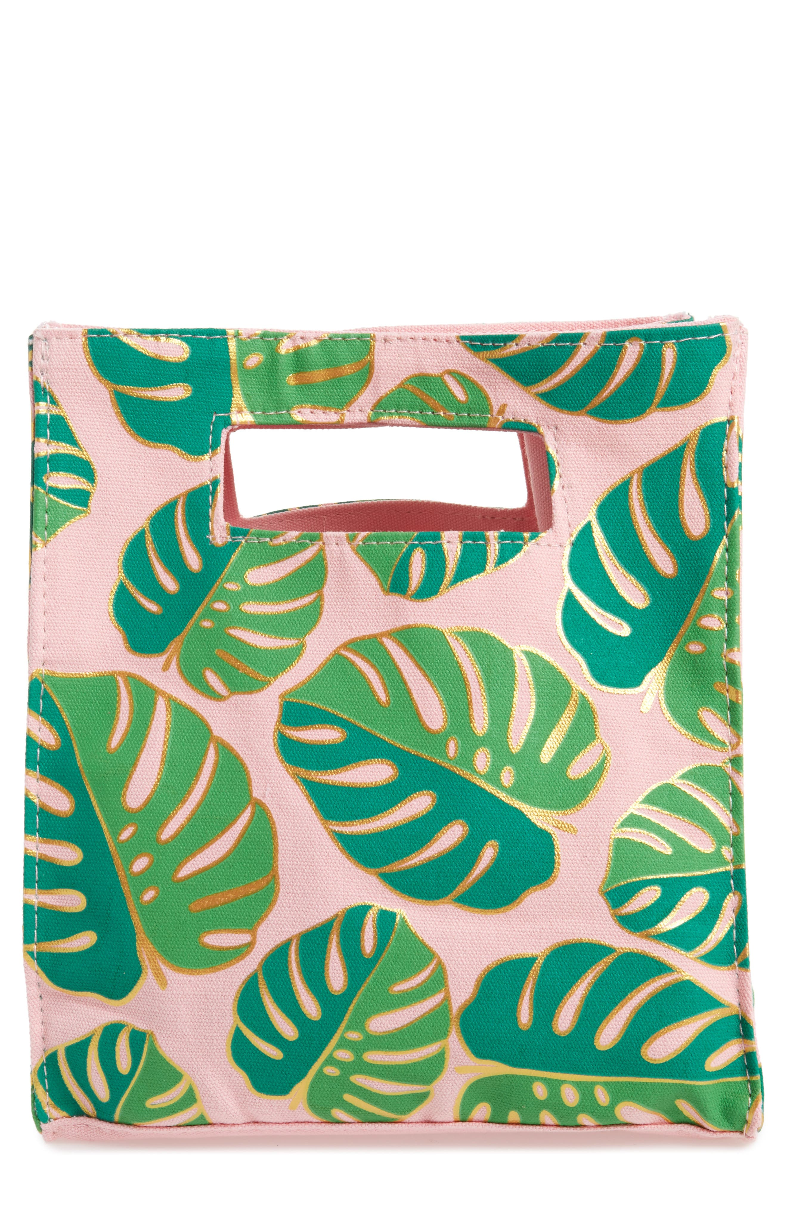 Slant Collections Monstera Print Canvas Tote