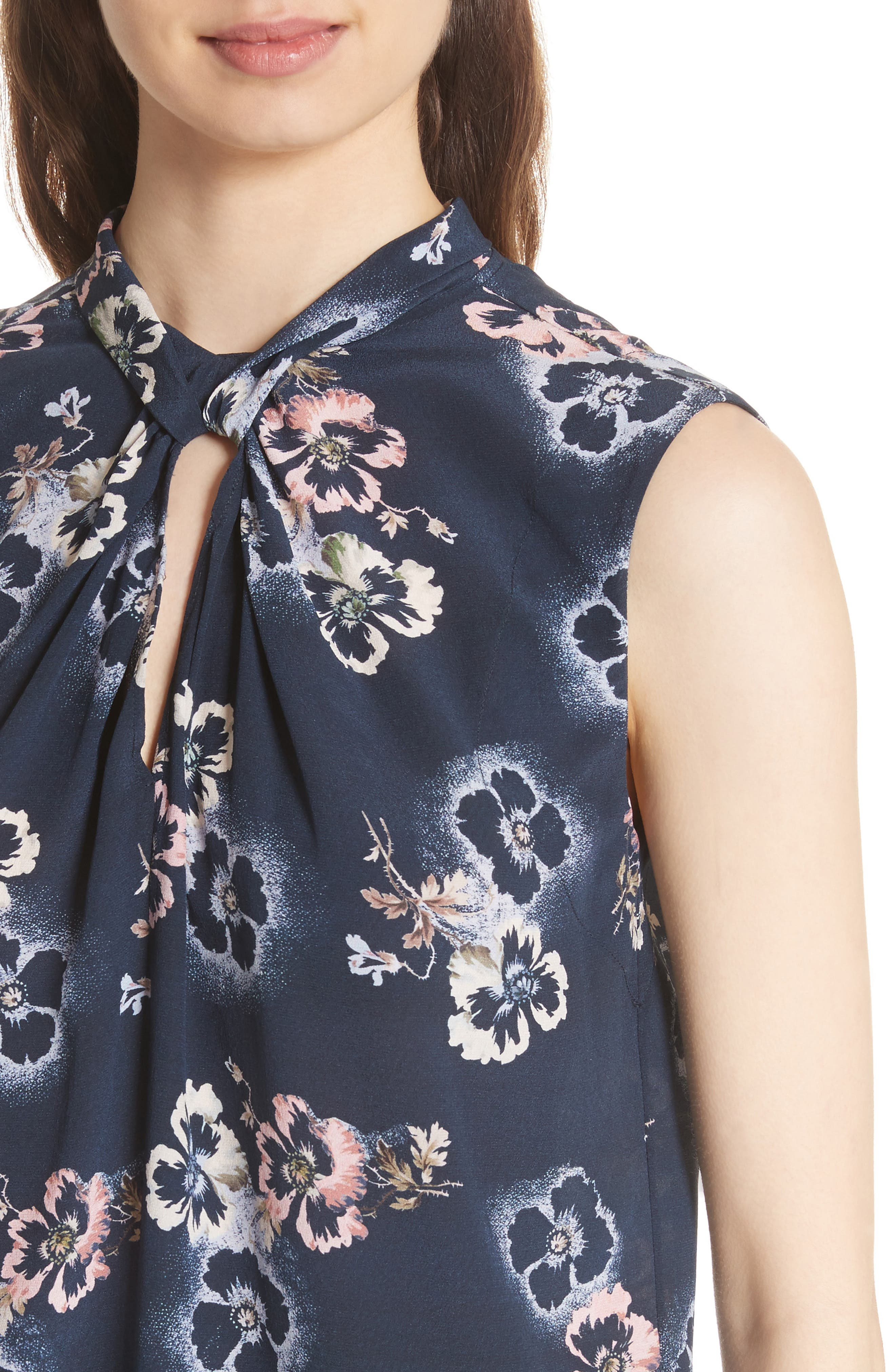 Floral Knotted Silk Top,                             Alternate thumbnail 4, color,                             Navy