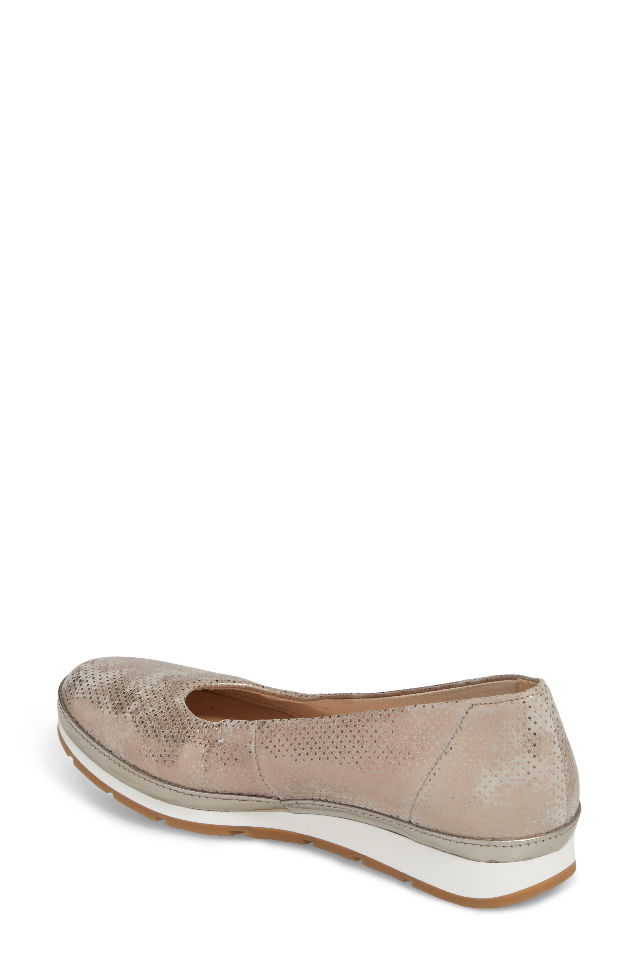 Ballet Wedge,                             Alternate thumbnail 2, color,                             Beige Metallic Leather