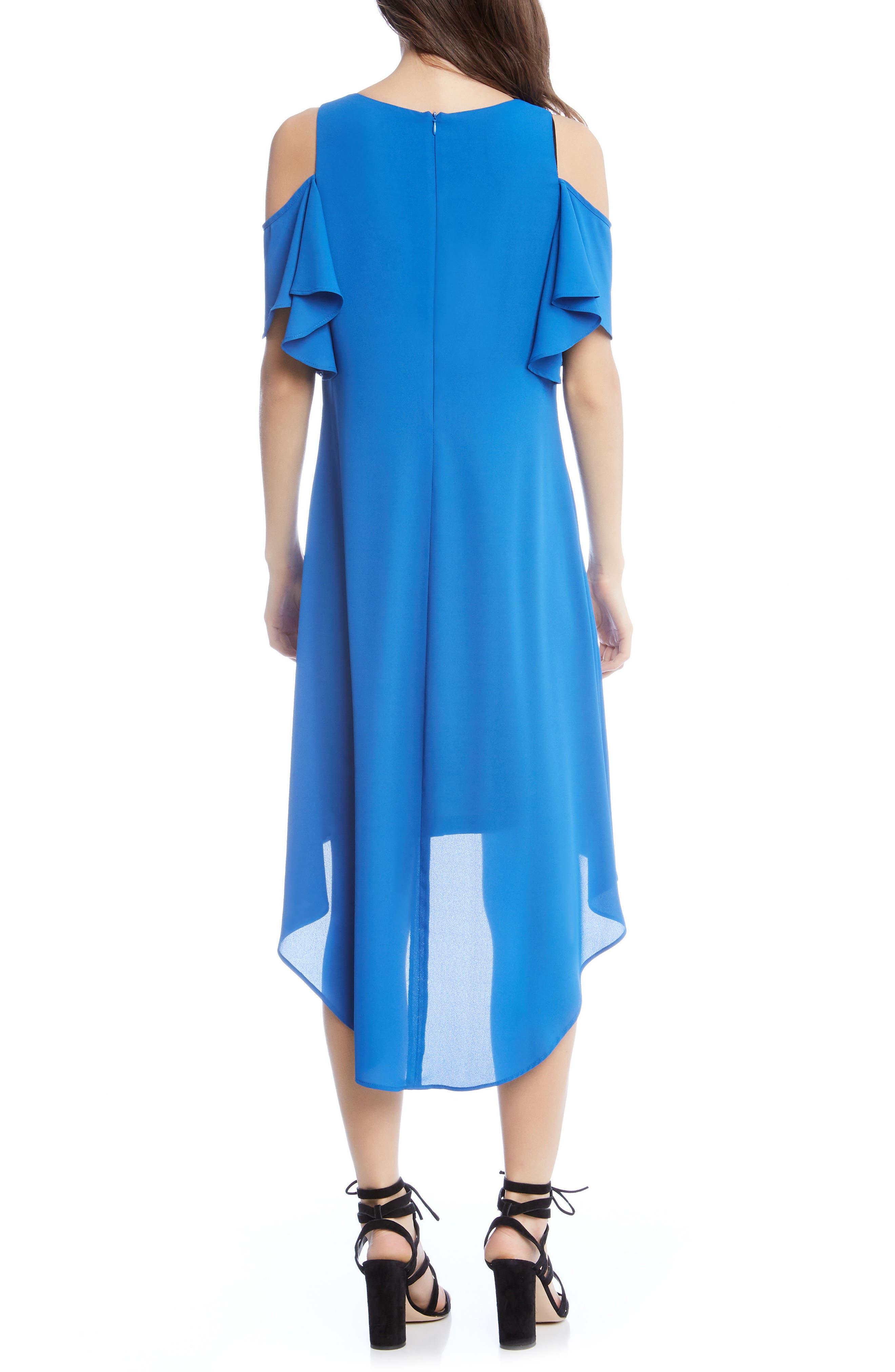 Cold Shoulder High/Low Dress,                             Alternate thumbnail 2, color,                             Cobalt