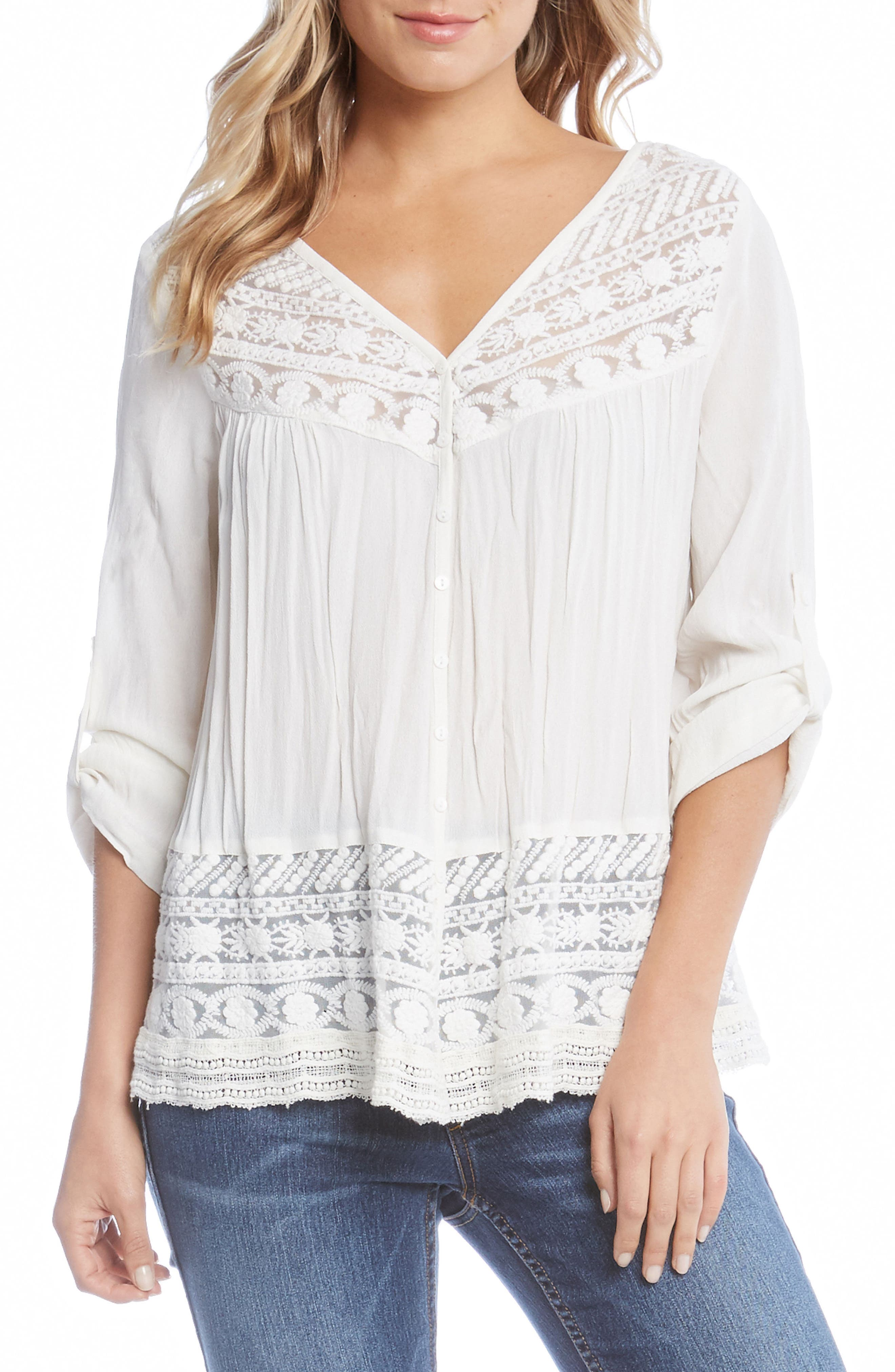 Lace Inset Top,                         Main,                         color, Off White