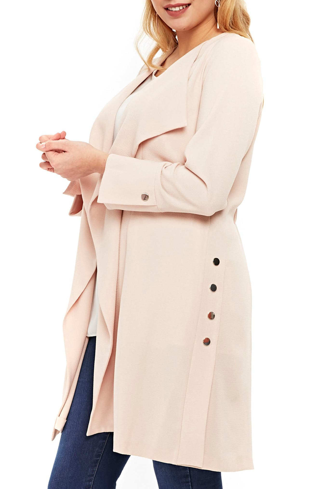 Stud Detail Longline Jacket,                             Alternate thumbnail 3, color,                             Blush